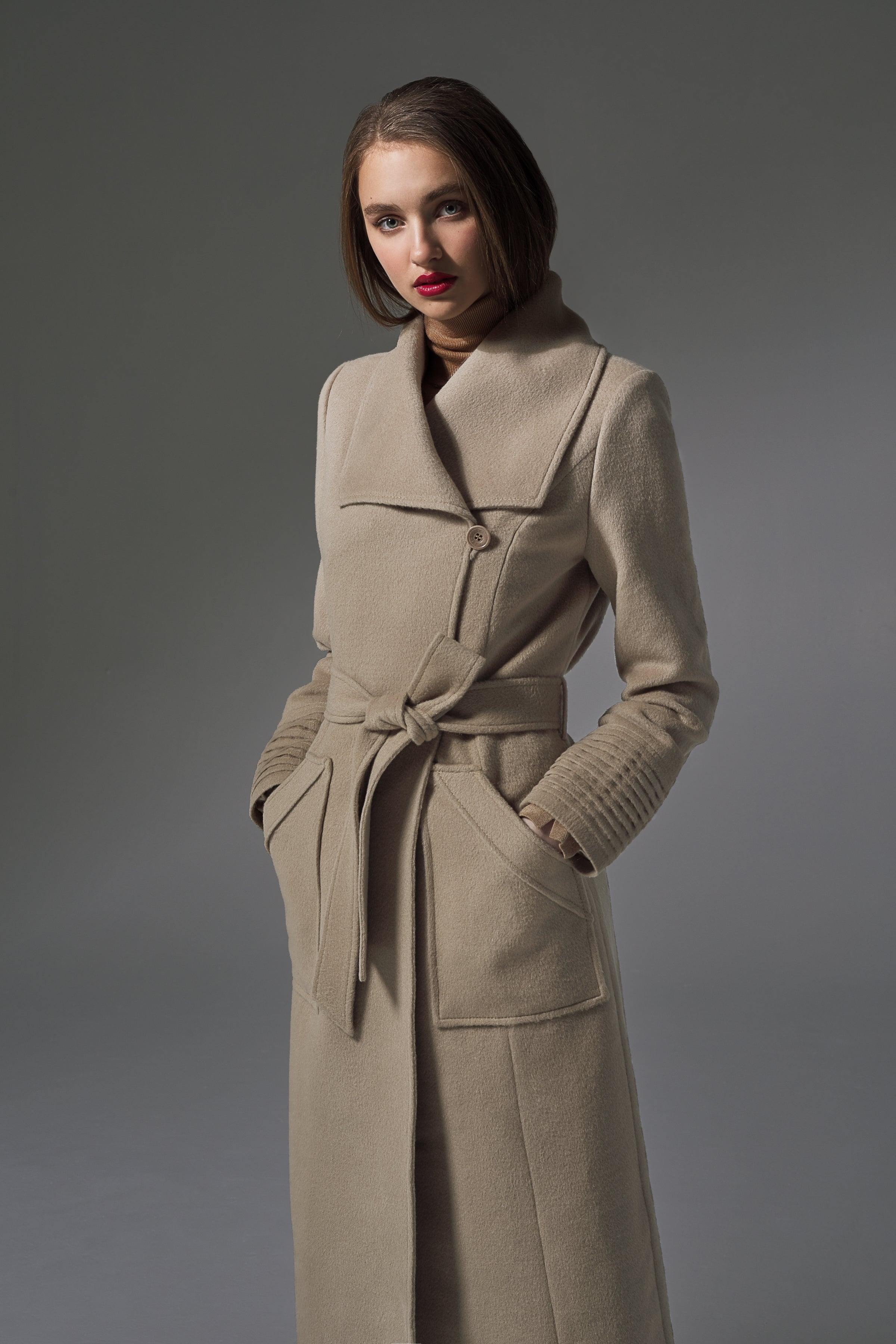 Long Wide Collar Wrap Coat Camel