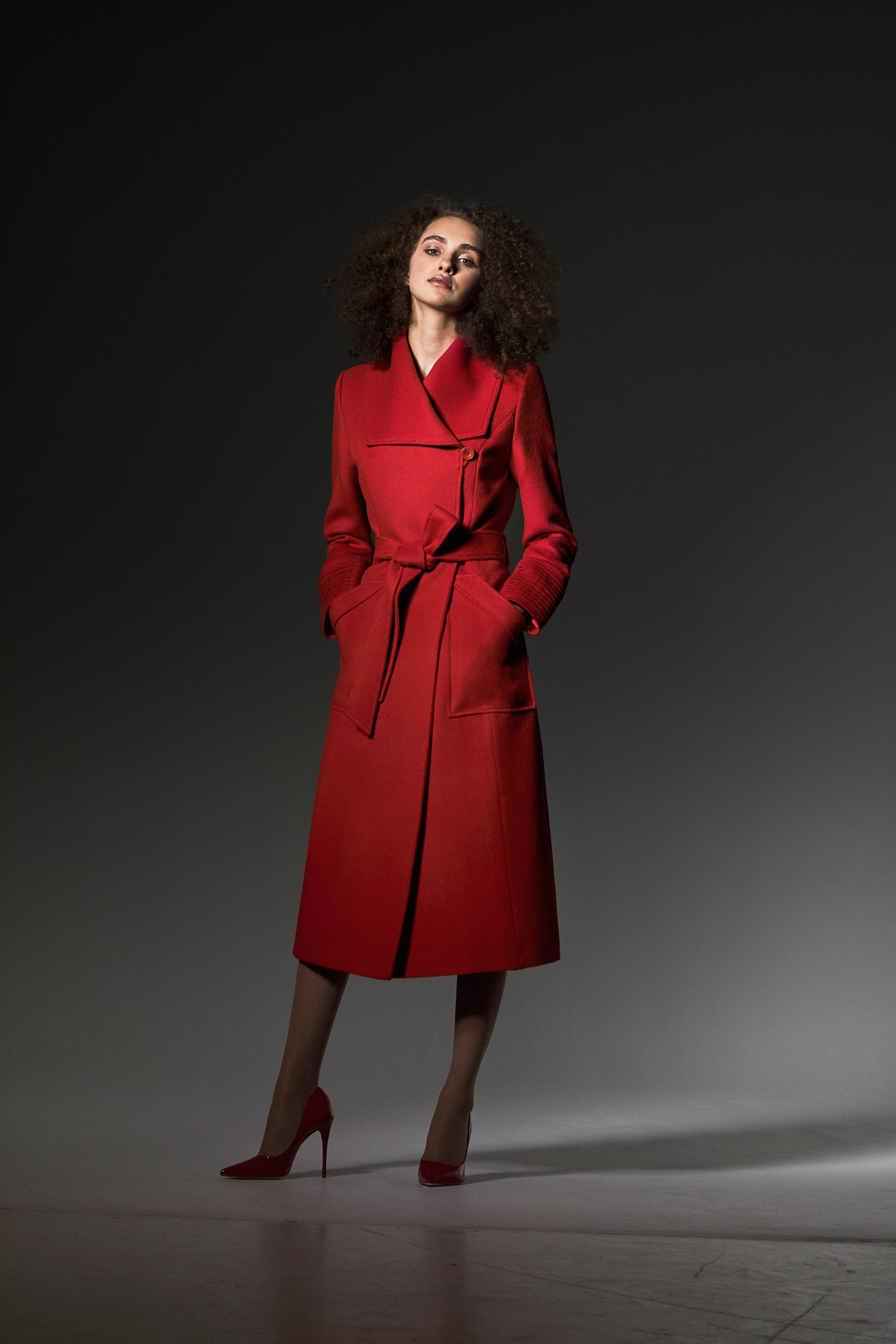 Long Wide Collar Wrap Coat Scarlet Red