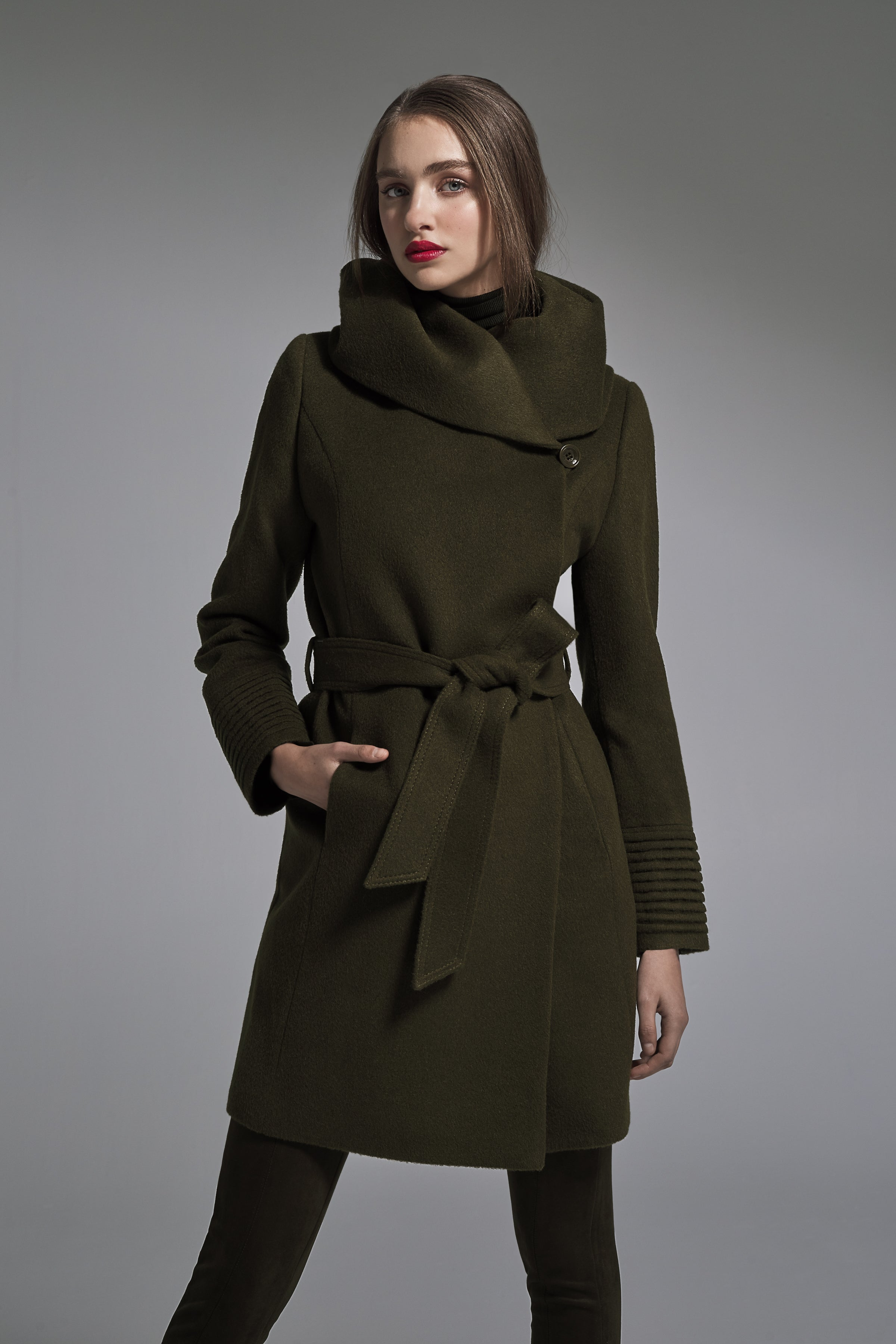 Mid Length Hooded Wrap Coat Army Green