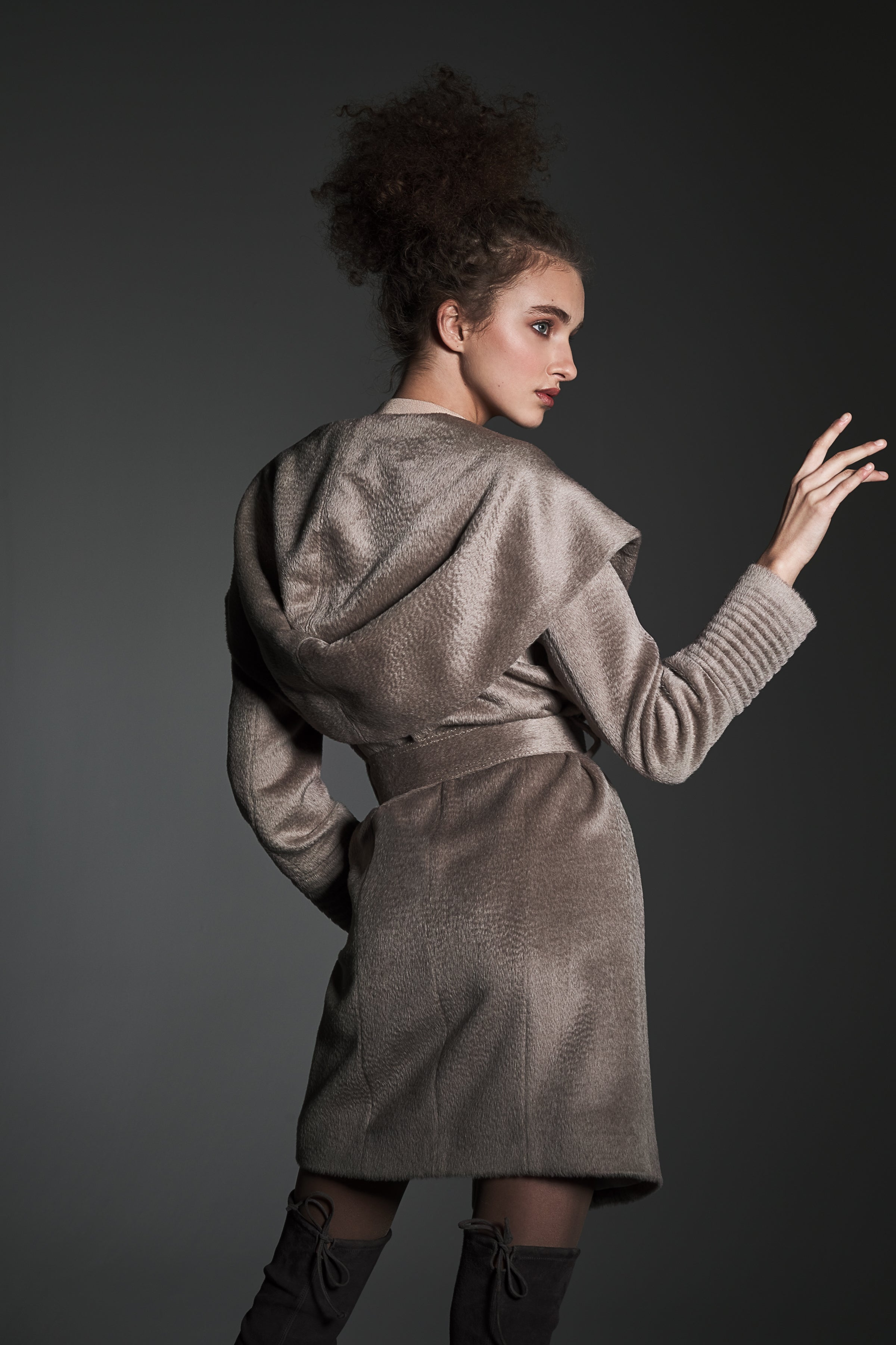 Mid Length Hooded Wrap Coat, Light Taupe