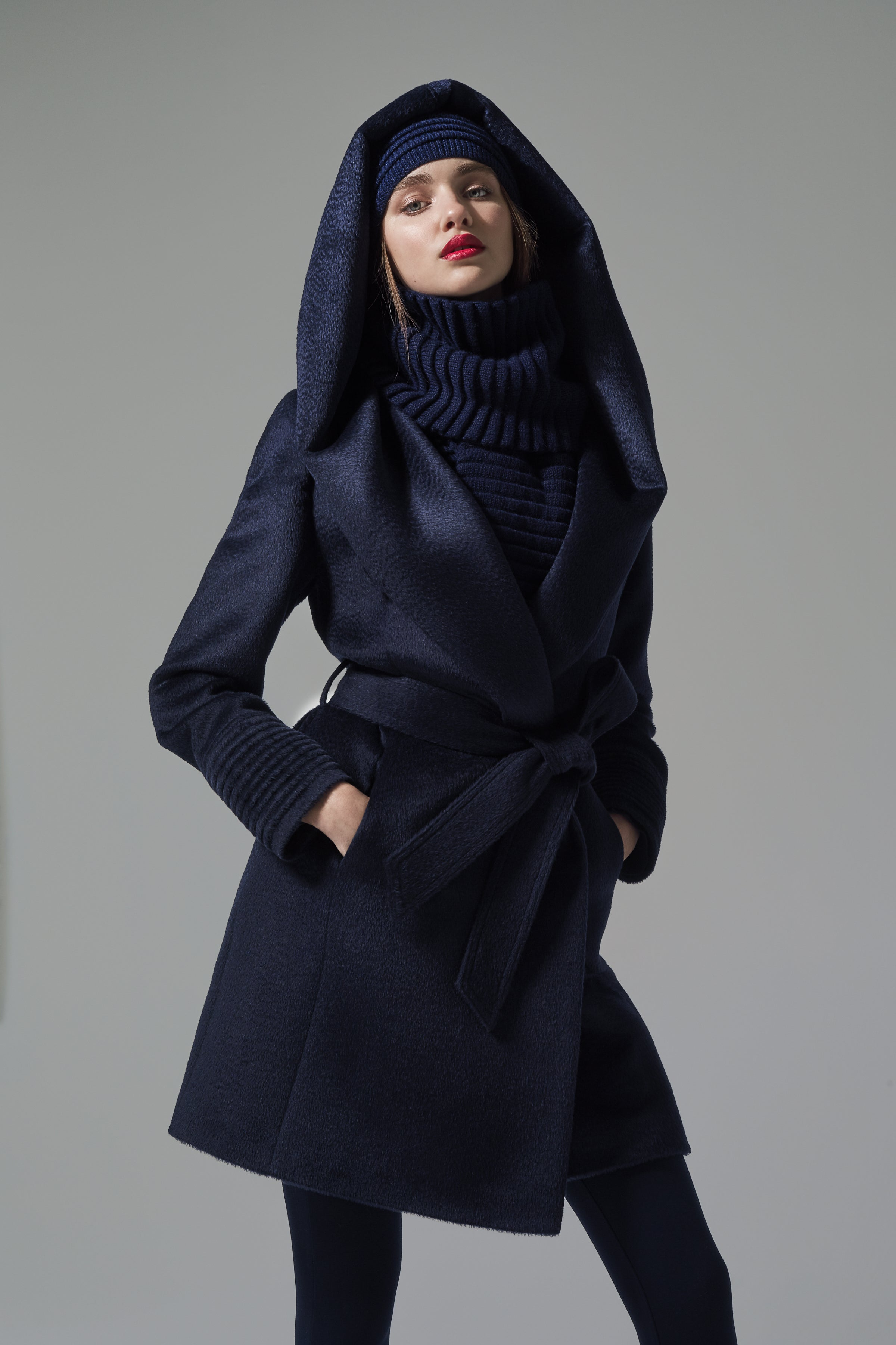 Mid Length Hooded Wrap Coat Navy