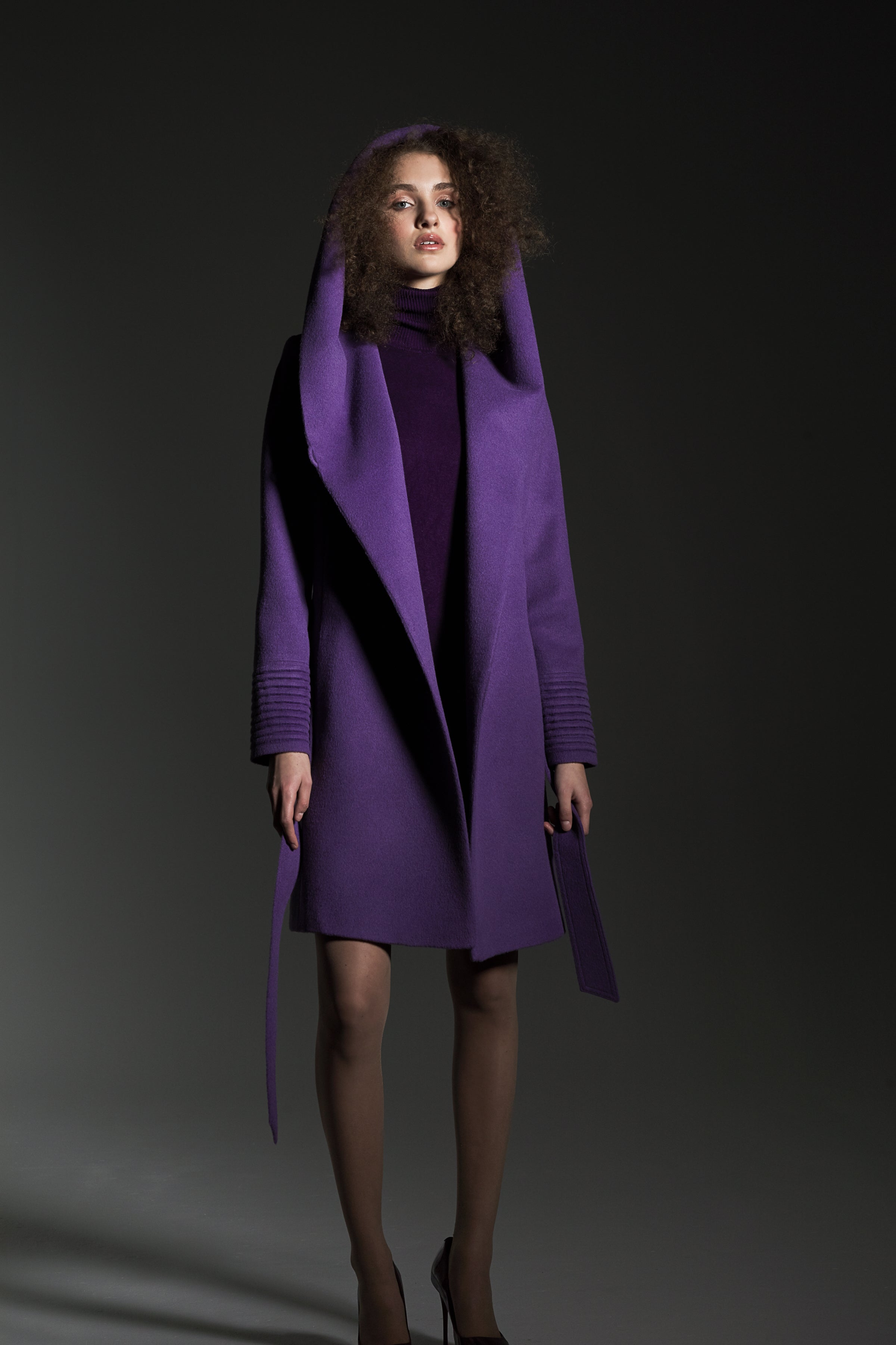 Mid Length Hooded Wrap Coat Ripe Berry