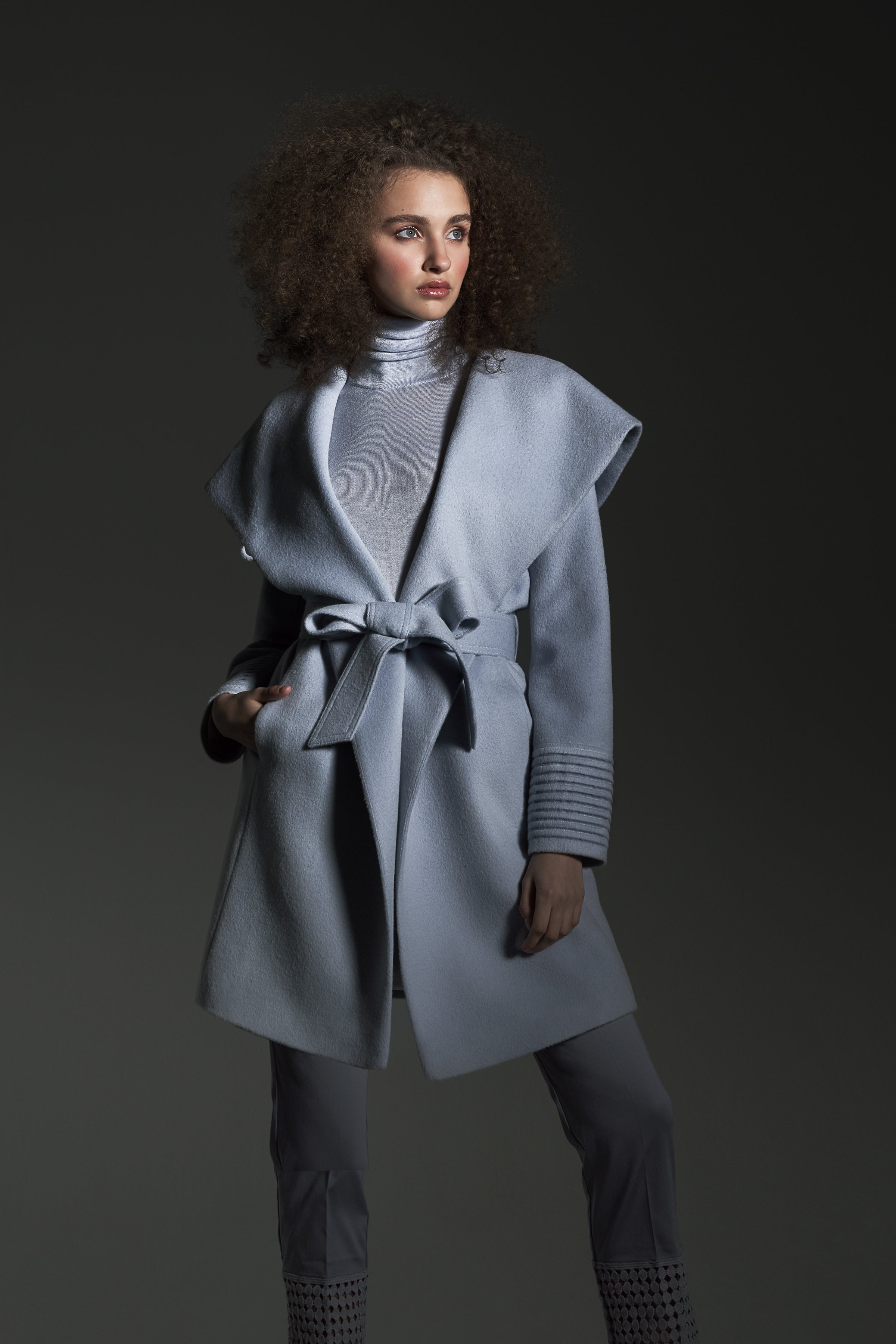 Mid Length Hooded Wrap Coat Sky Blue