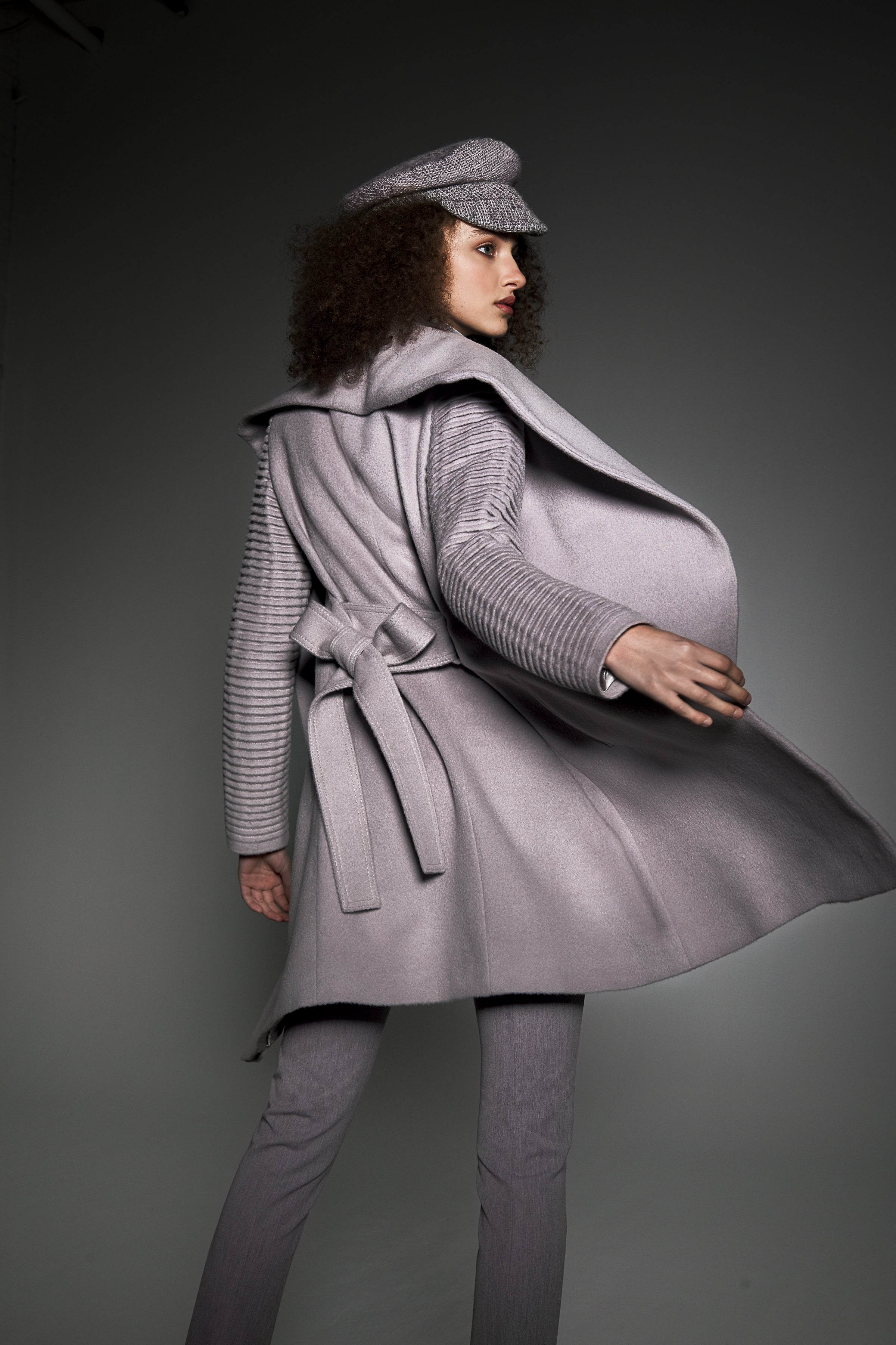 Mid Length Shawl Collar Wrap Coat with Ribbed Sleeves Opal Grey