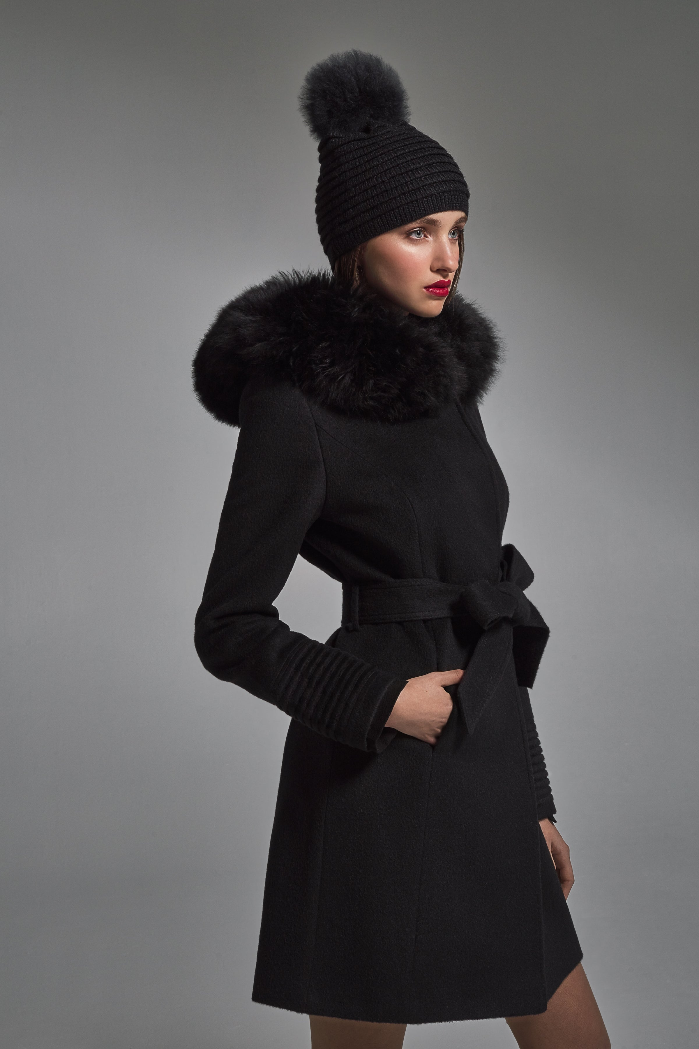 Mid Length Wrap Coat with Fur Hood Black