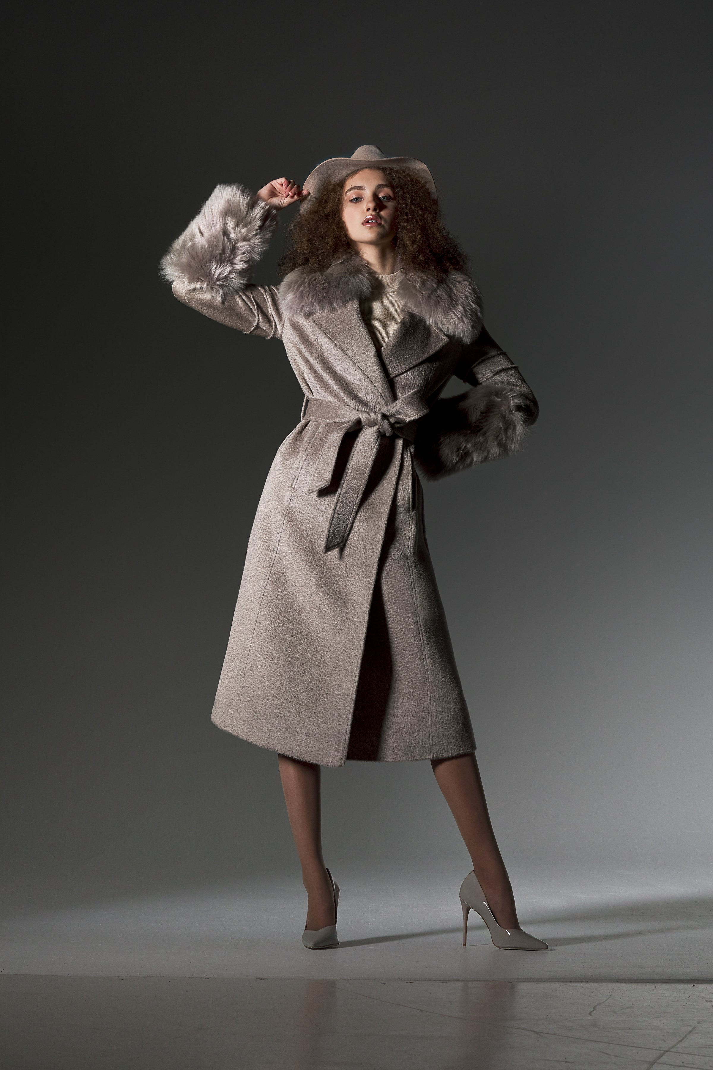 Notched Collar Wrap Coat with Fur Collar and Cuffs Light Taupe