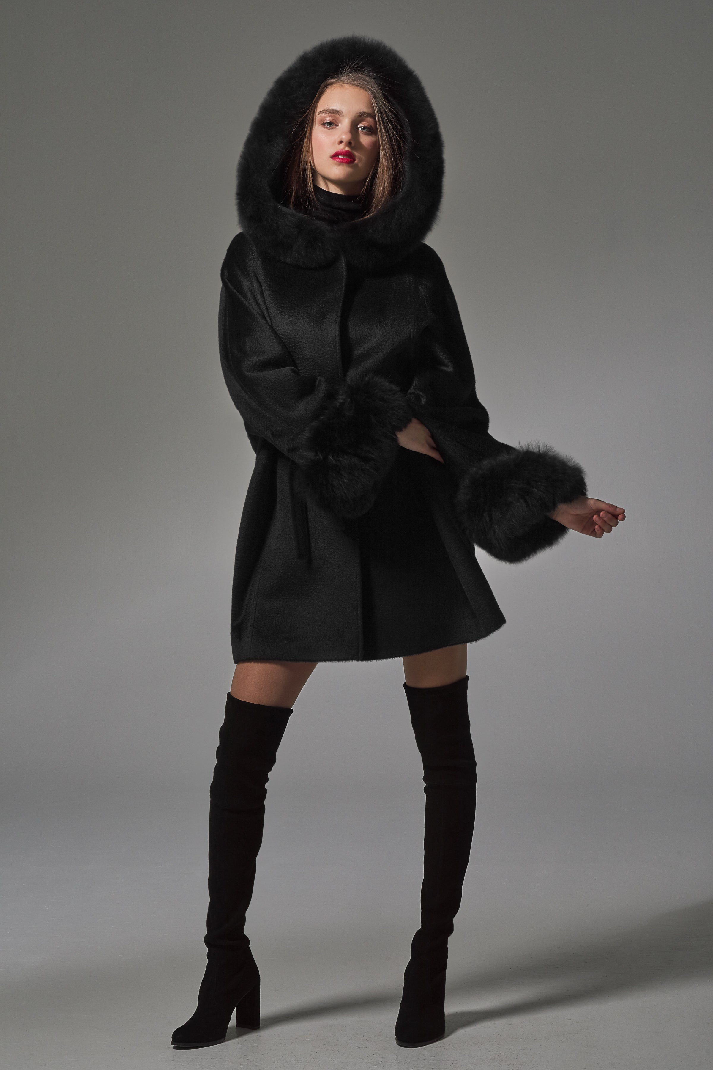 Oversized Coat with Fur Hood and Cuffs Black