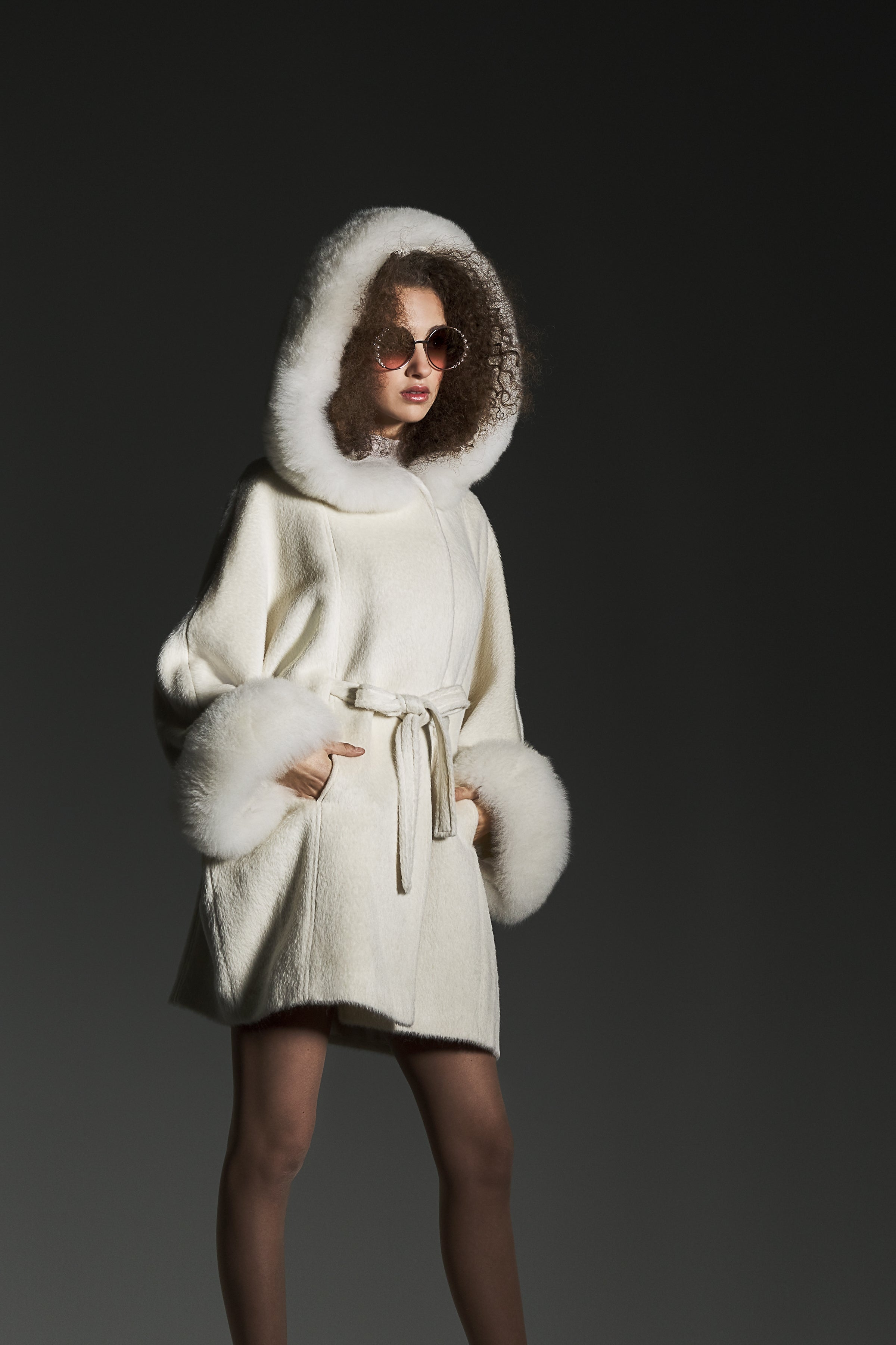 Oversized Coat with Fur Hood and Cuffs Ivory