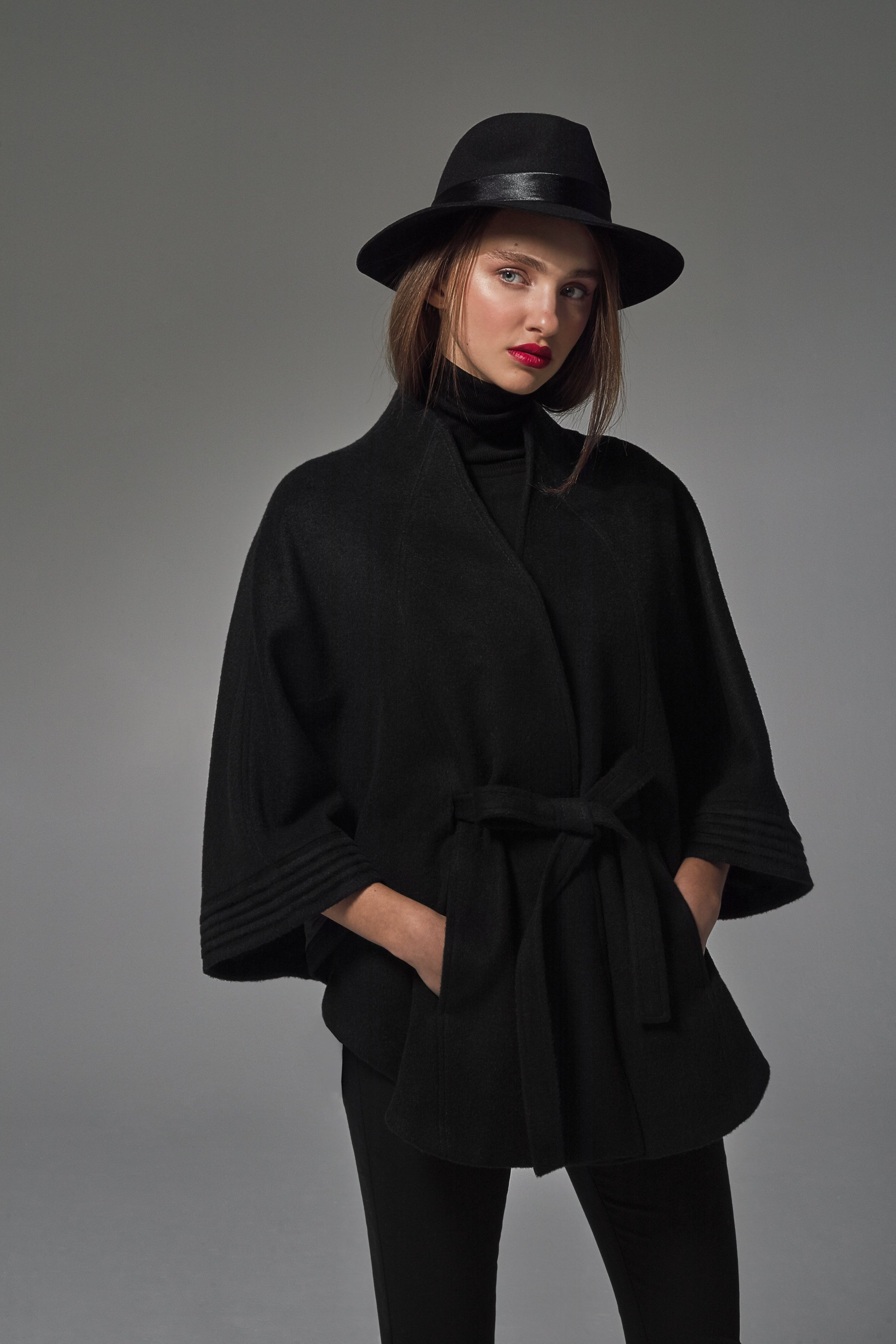 Stand Collar Cape with Ribbed Cuffs Black