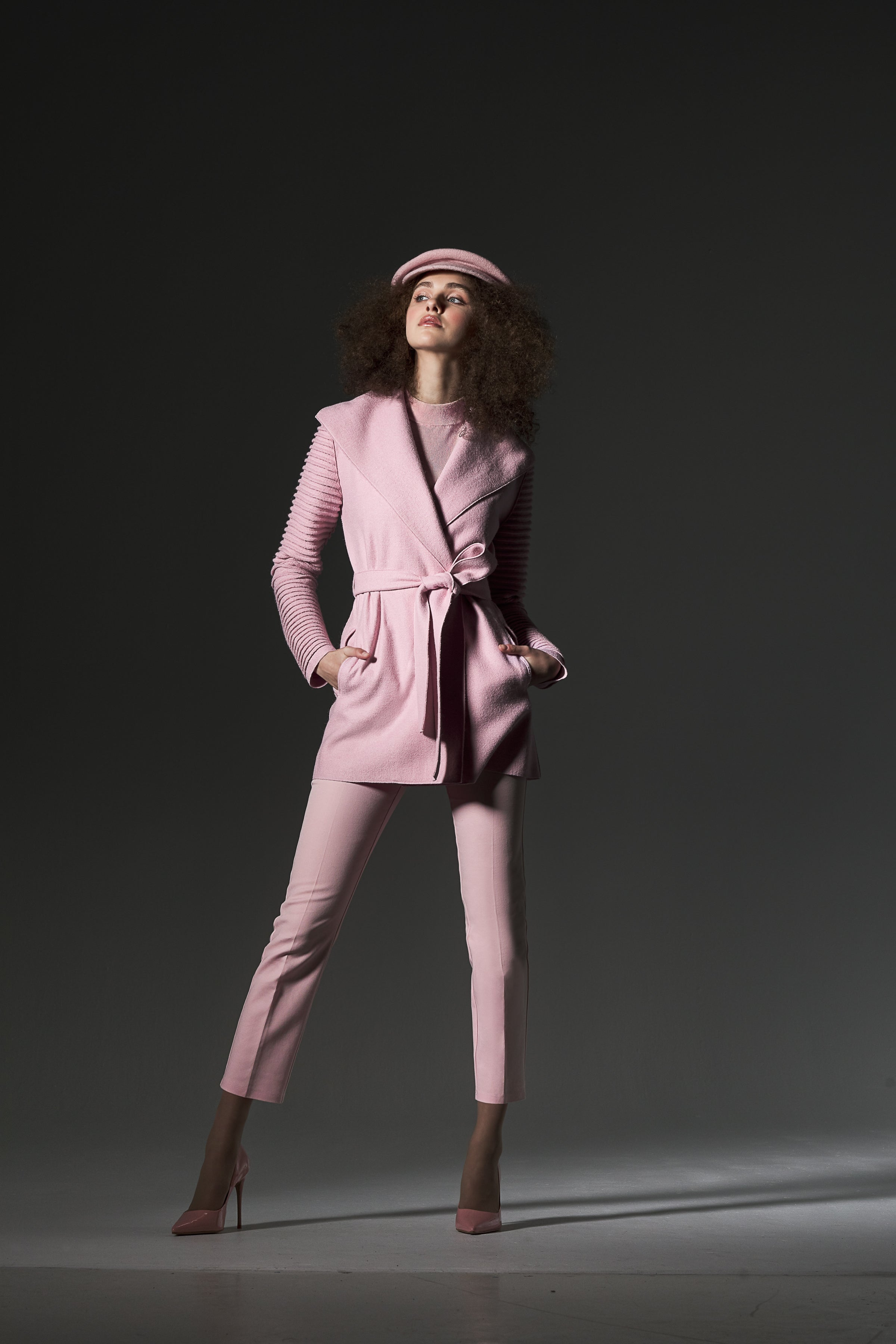 Wrap Coat with Ribbed Sleeves Parfait Pink