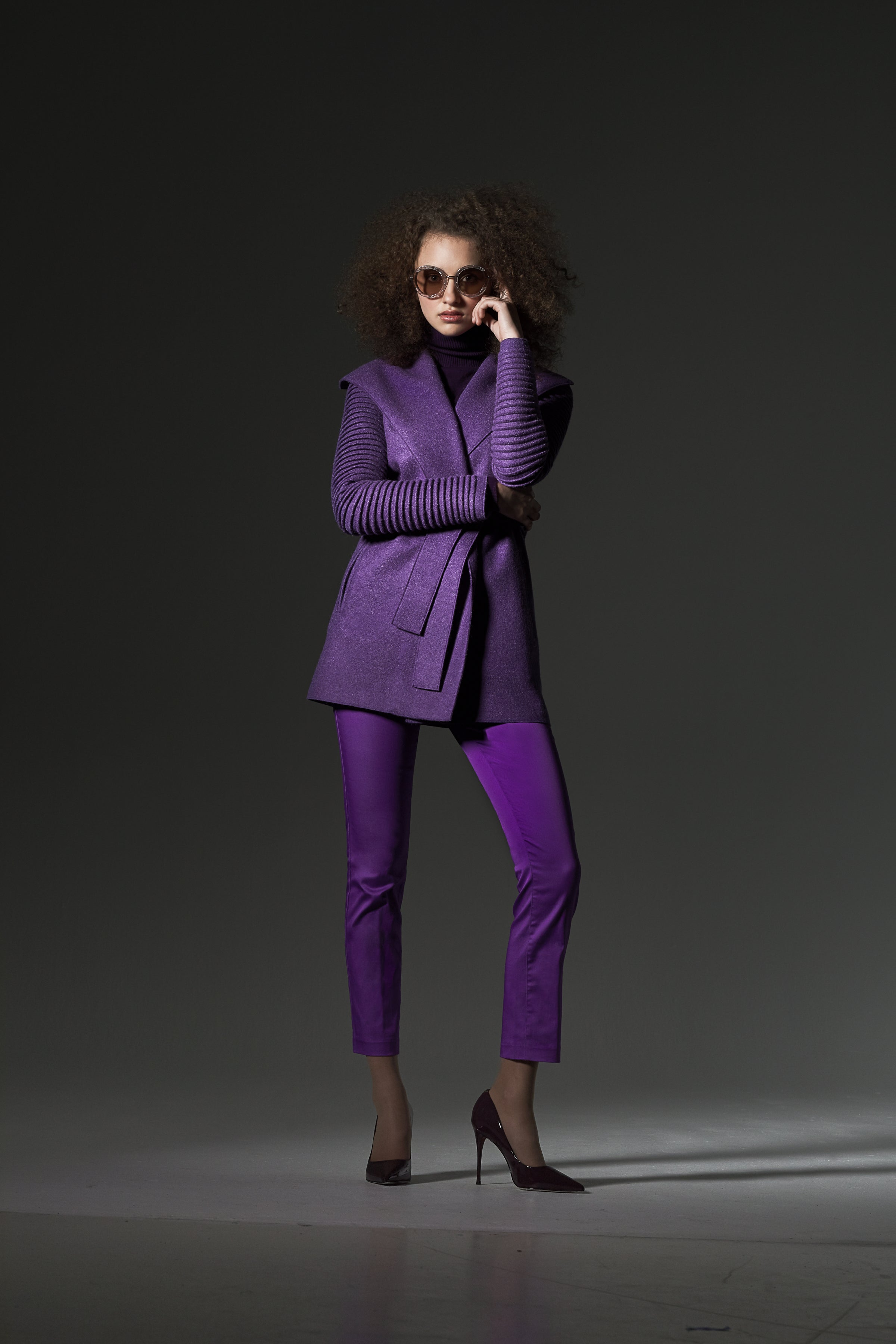 Wrap Coat with Ribbed Sleeves Ripe Berry