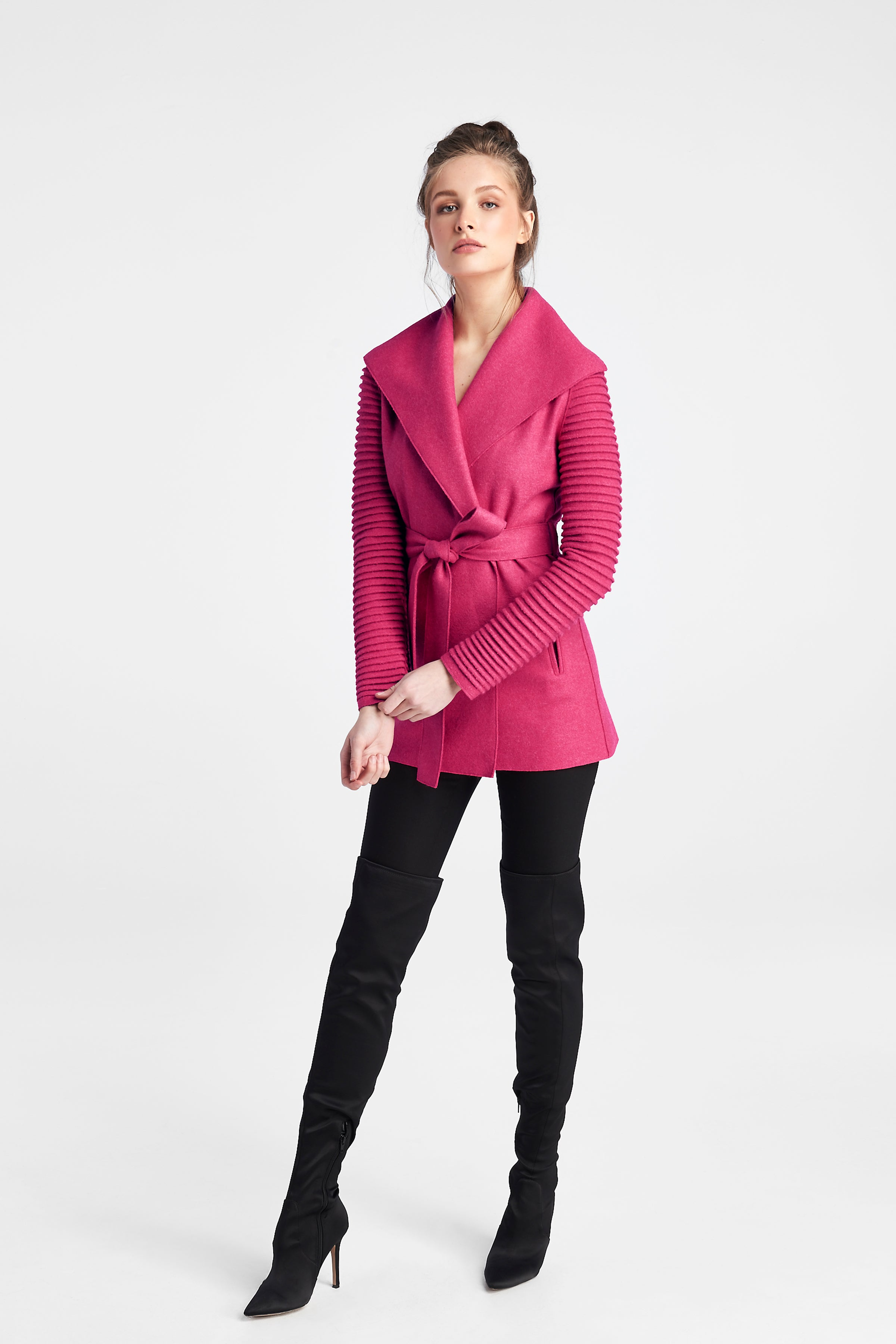 Ribbed Sleeves Wrap Coat Atomic Cerise