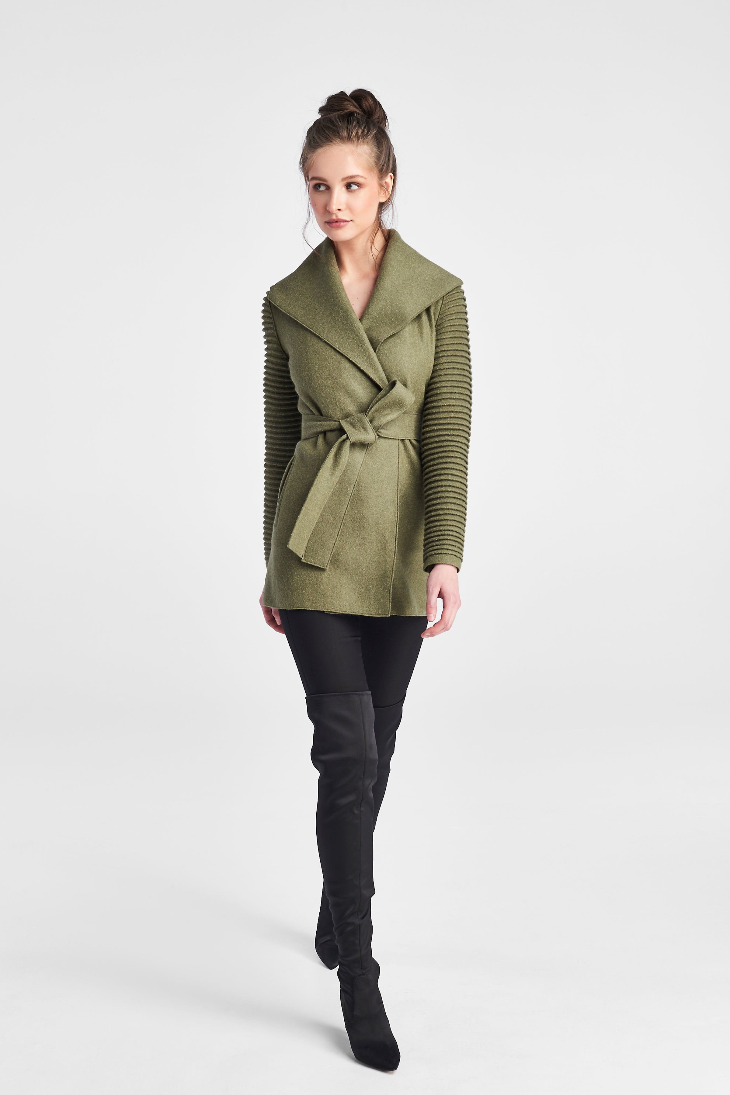 Ribbed Sleeves Wrap Coat Hiking Green