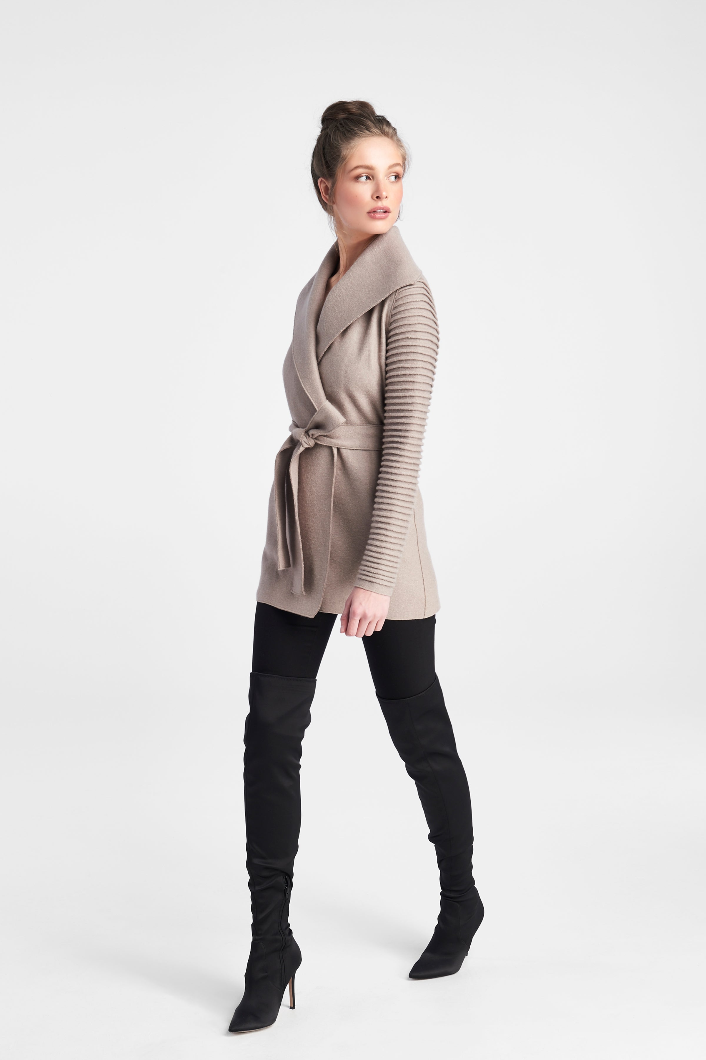Ribbed Sleeves Wrap Coat Simply Taupe