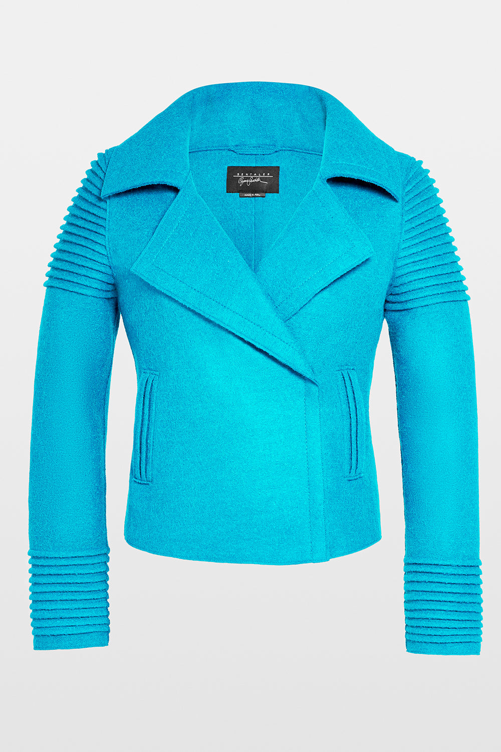 Sentaler Bomber Jacket with Ribbed Shoulders and Cuffs featured in Superfine Alpaca and available in AI Aqua. Seen off model.