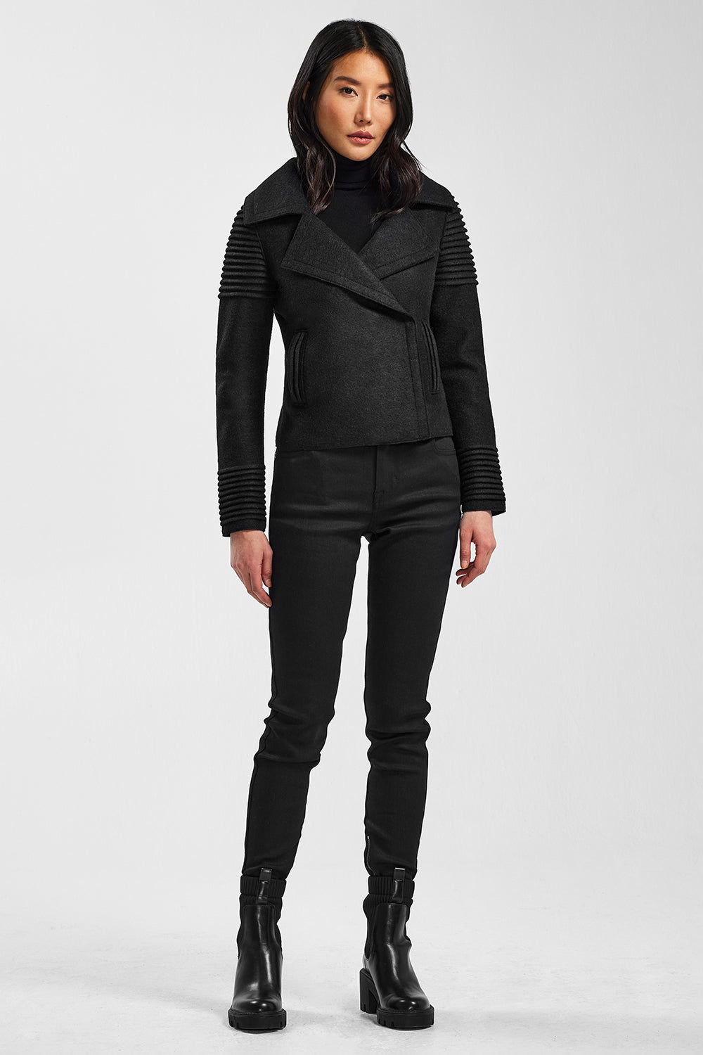 Sentaler Bomber Jacket with Ribbed Shoulders and Cuffs featured in Superfine Alpaca and available in Black. Seen from front.