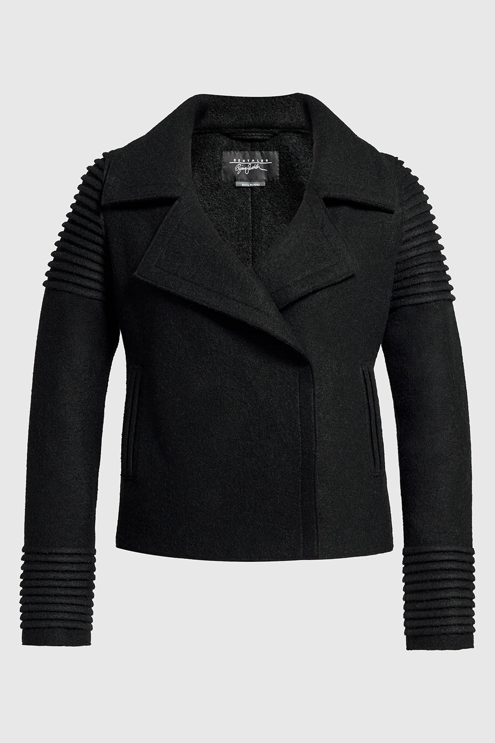 Sentaler Bomber Jacket with Ribbed Shoulders and Cuffs featured in Superfine Alpaca and available in Black. Seen off model.
