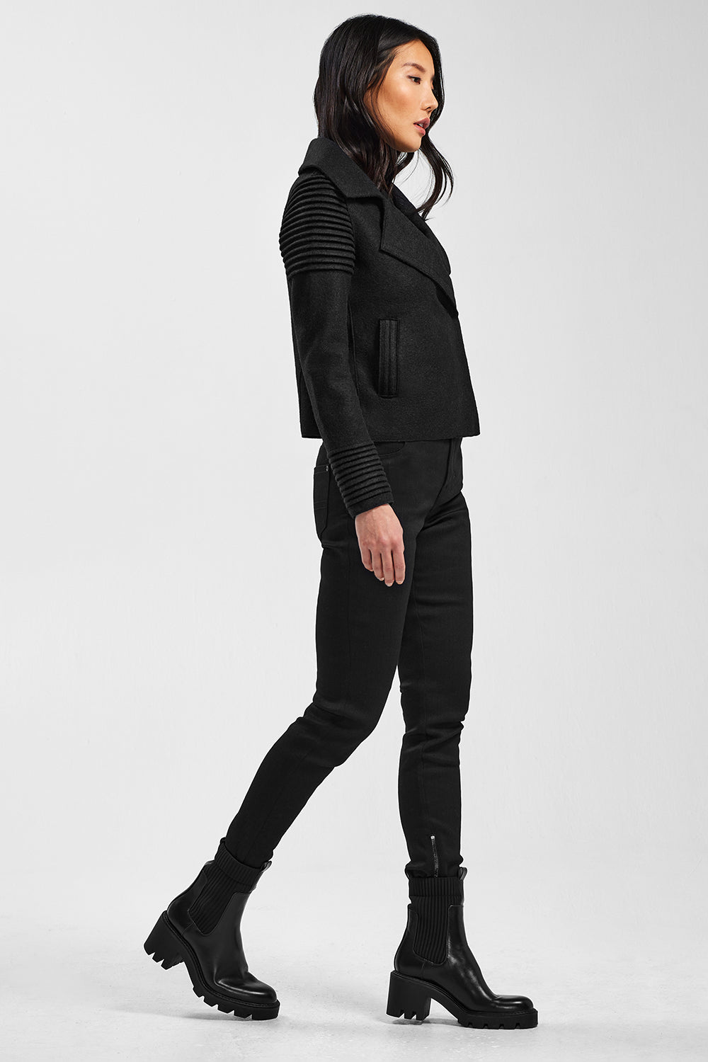 Sentaler Bomber Jacket with Ribbed Shoulders and Cuffs featured in Superfine Alpaca and available in Black. Seen from side.