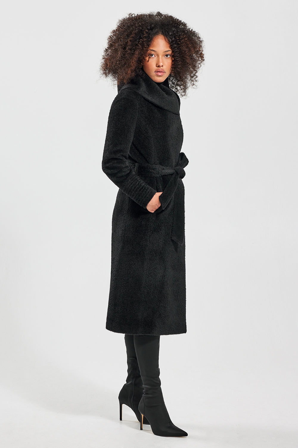 Sentaler Bouclé Alpaca Long Hooded Wrap Coat featured in Bouclé Alpaca and available in Black. Seen from side.