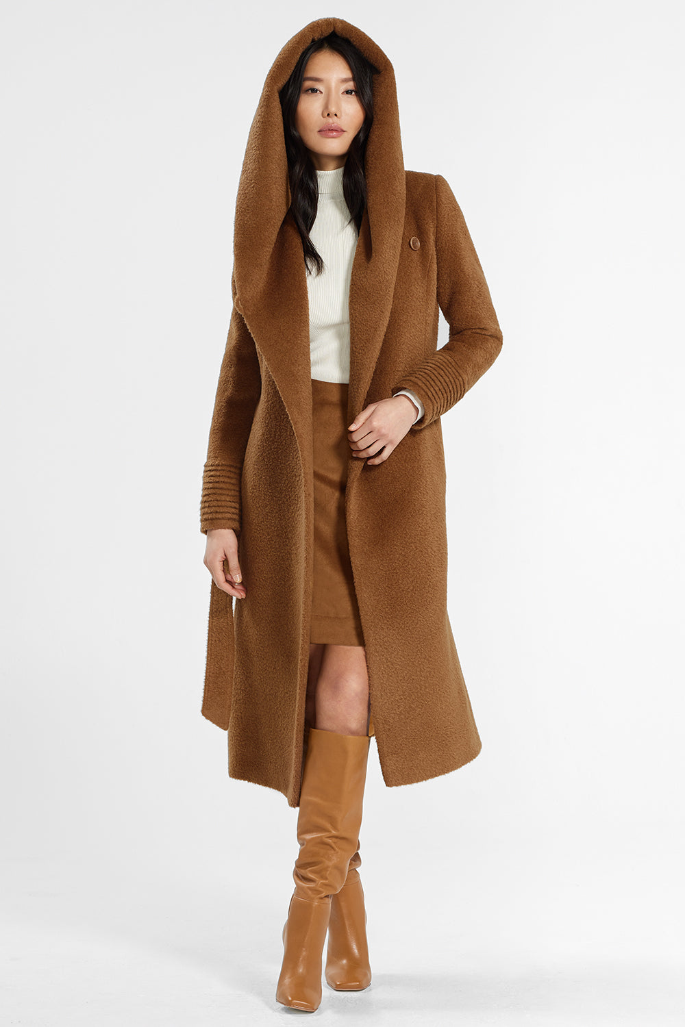 Sentaler Bouclé Alpaca Long Hooded Wrap Coat featured in Bouclé Alpaca and available in Caramel Café. Seen open.