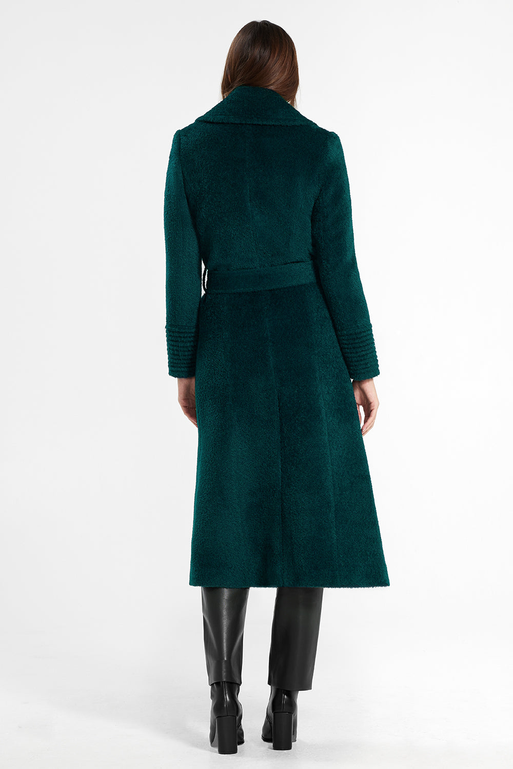 Sentaler Bouclé Alpaca Long Notched Collar Wrap Coat featured in Bouclé Alpaca and available in Emerald Green. Seen from back.