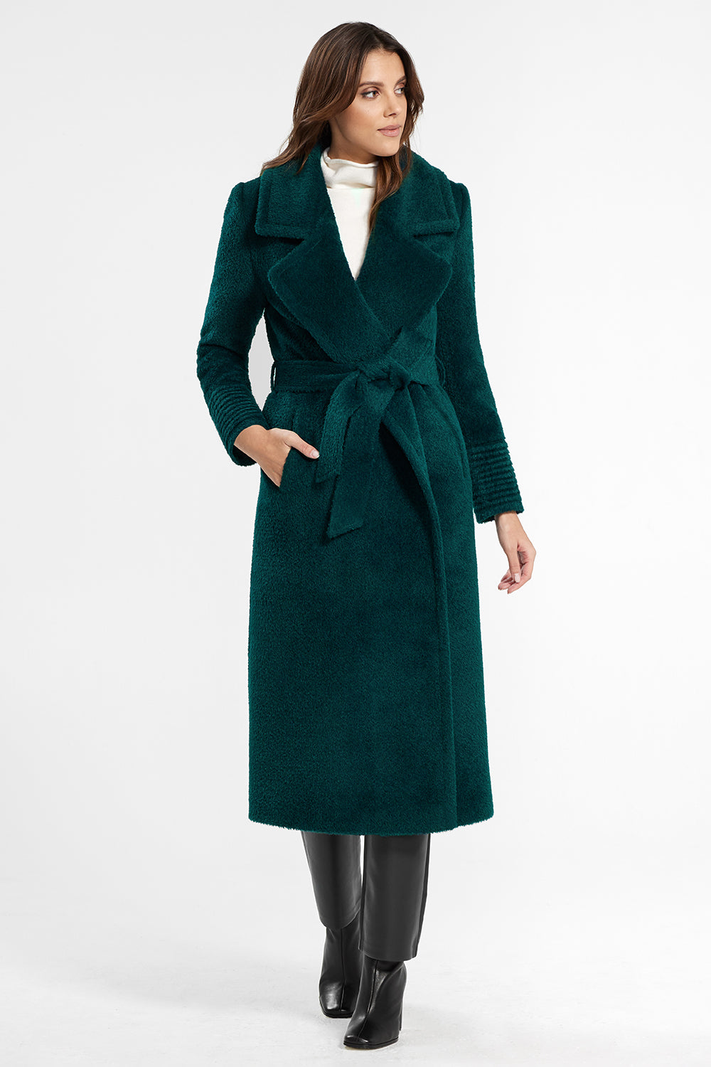 Sentaler Bouclé Alpaca Long Notched Collar Wrap Coat featured in Bouclé Alpaca and available in Emerald Green. Seen from front.