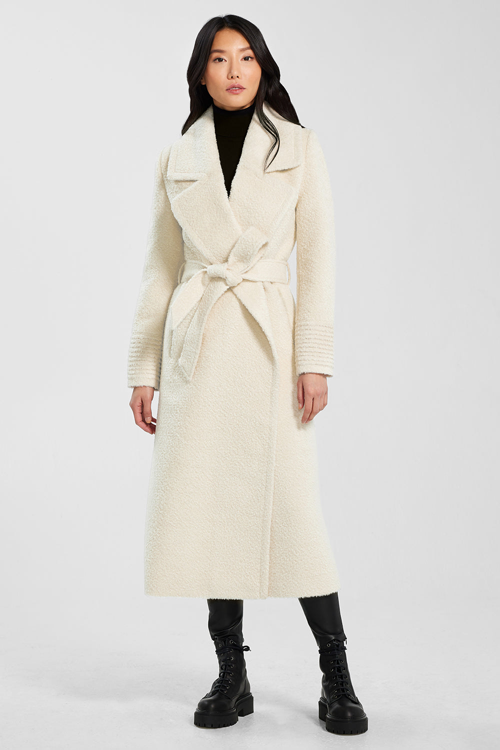 Sentaler Bouclé Alpaca Long Notched Collar Wrap Coat featured in Bouclé Alpaca and available in Ivory. Seen from front.