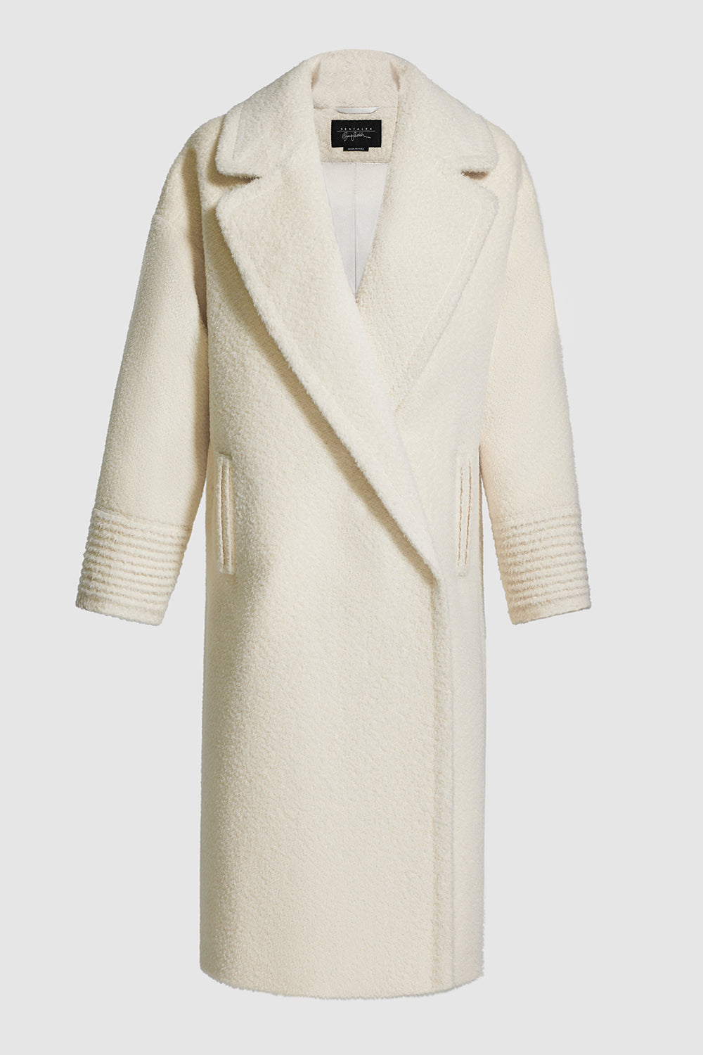 Sentaler Bouclé Alpaca Long Oversized Notched Collar Coat featured in Bouclé Alpaca and available in Ivory. Seen off model.