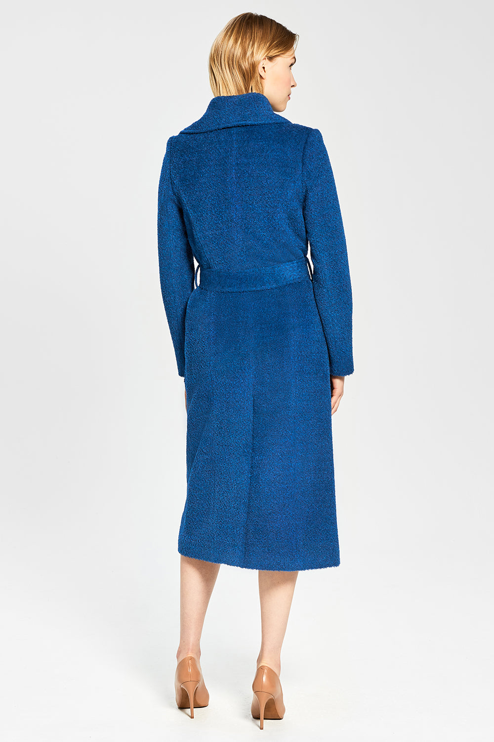 Sentaler Bouclé Alpaca Long Wide Collar Wrap Coat featured in Bouclé Alpaca and available in Classic Blue. Seen from back.