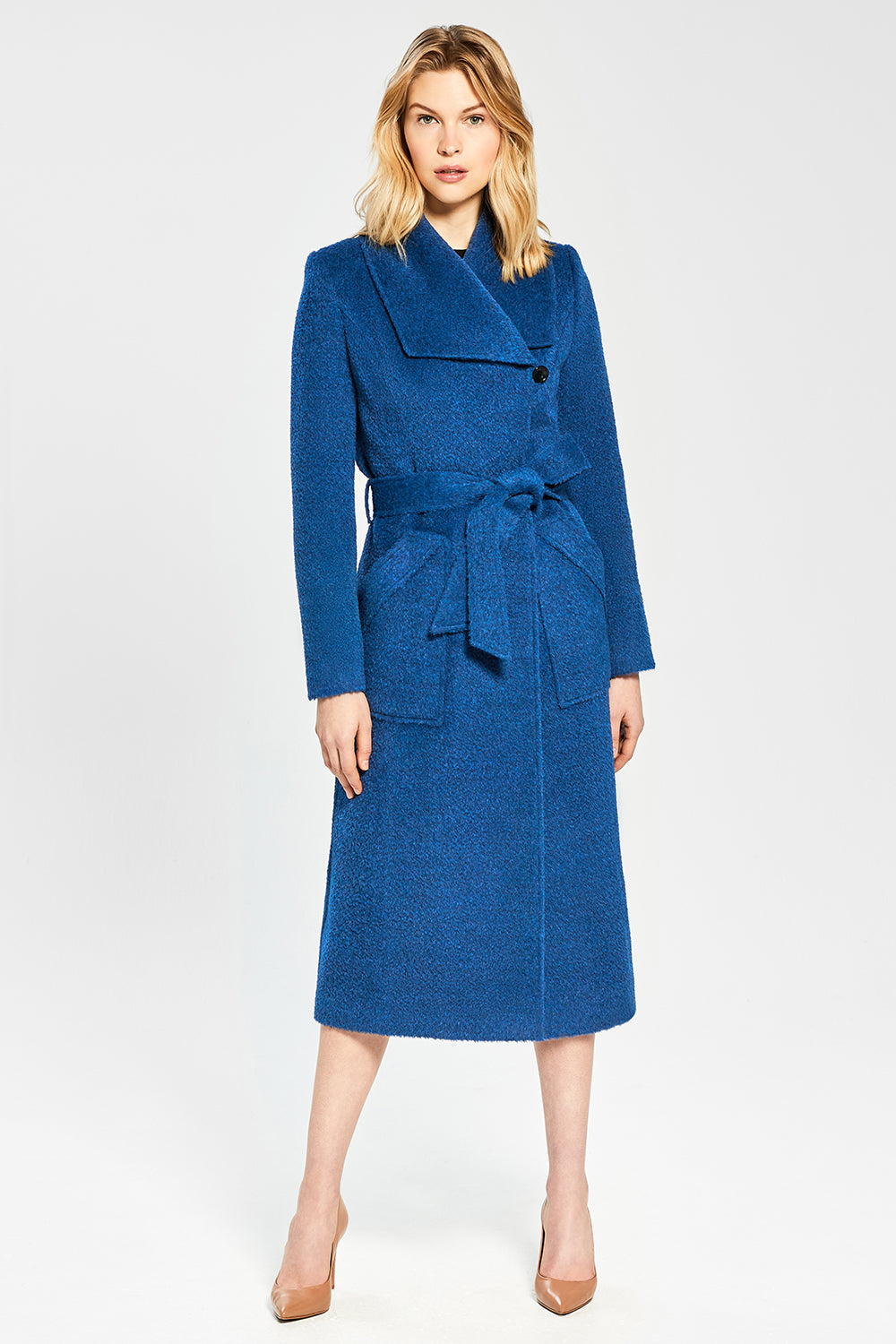 Sentaler Bouclé Alpaca Long Wide Collar Wrap Coat featured in Bouclé Alpaca and available in Classic Blue. Seen from front.