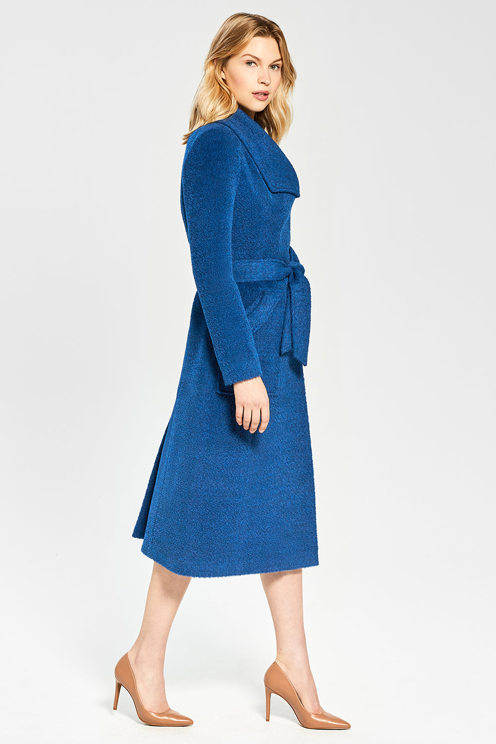 Sentaler Bouclé Alpaca Long Wide Collar Wrap Coat featured in Bouclé Alpaca and available in Classic Blue. Seen from side.