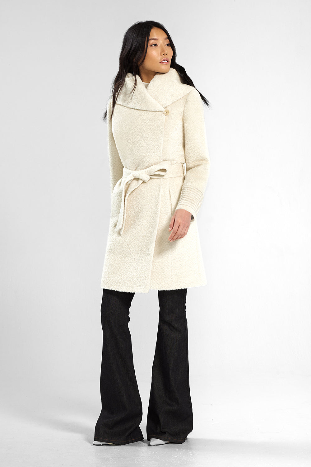 Sentaler Bouclé Alpaca Mid Length Hooded Wrap Coat featured in Bouclé Alpaca and available in Ivory. Seen from front.