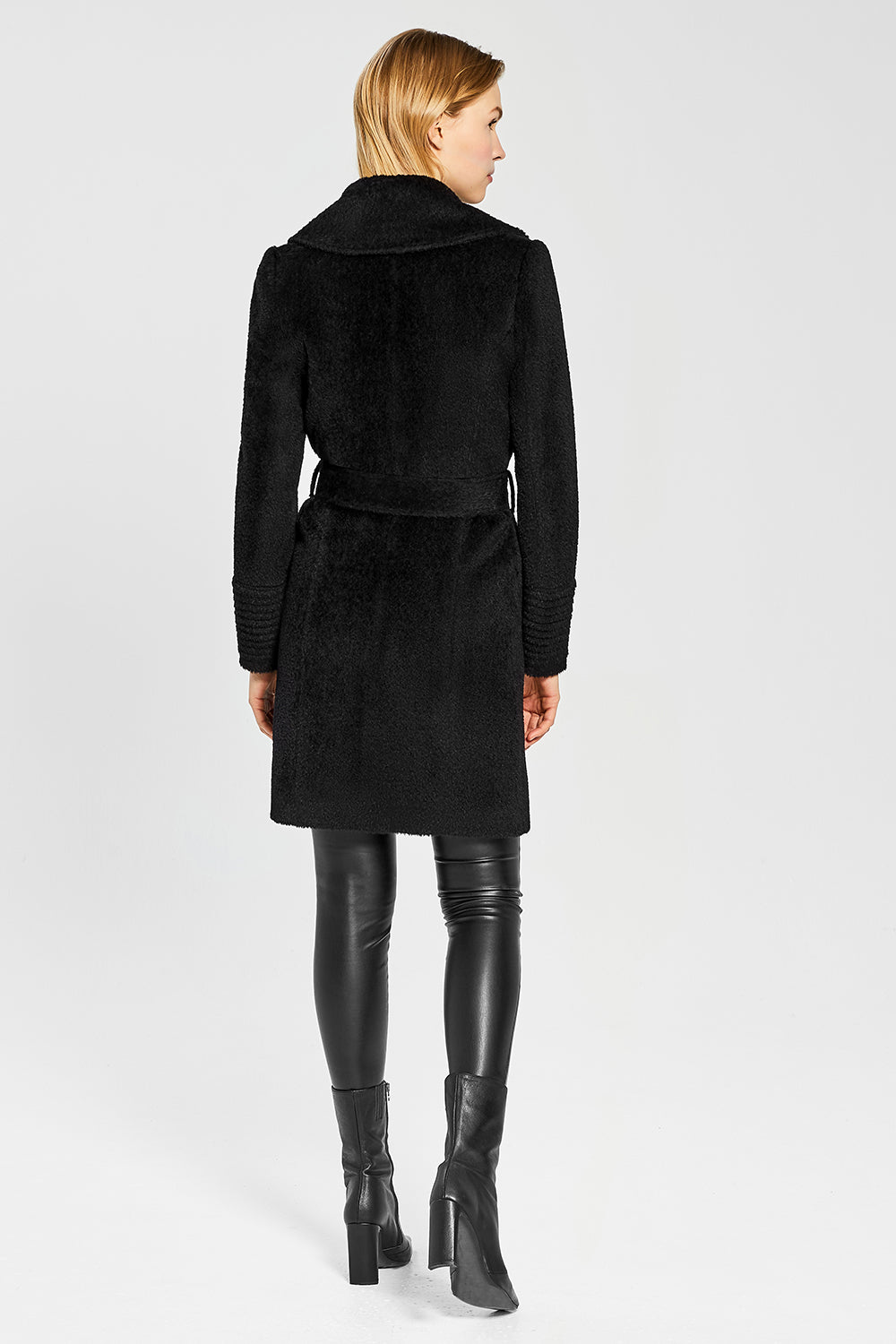 Sentaler Bouclé Alpaca Mid Length Notched Collar Wrap Coat featured in Bouclé Alpaca and available in Black. Seen from back.