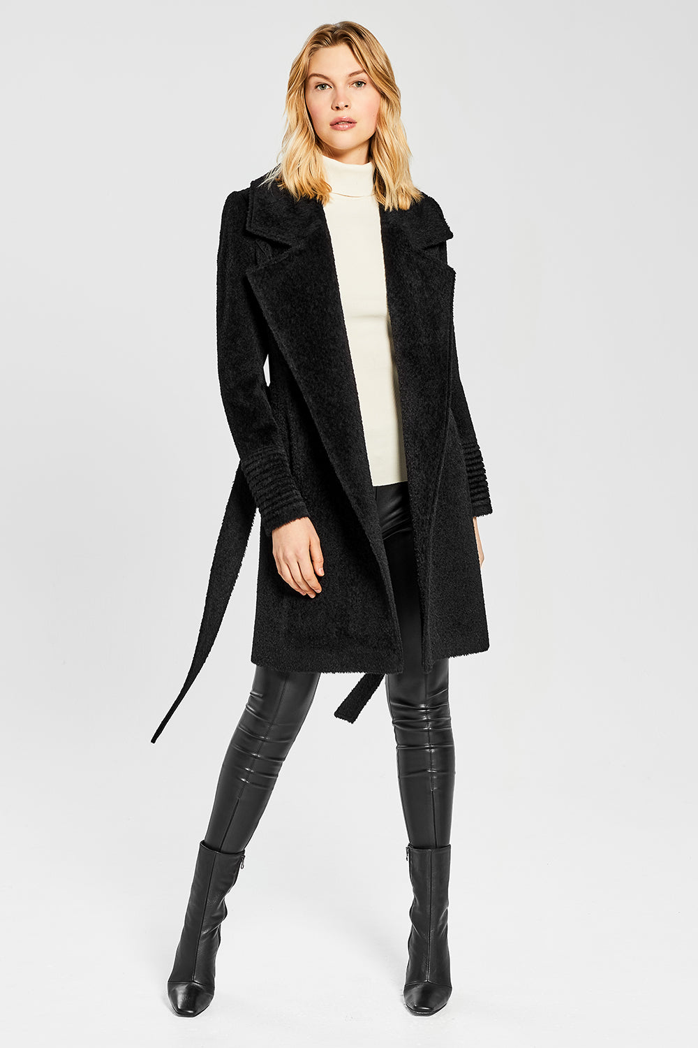 Sentaler Bouclé Alpaca Mid Length Notched Collar Wrap Coat featured in Bouclé Alpaca and available in Black. Seen open.