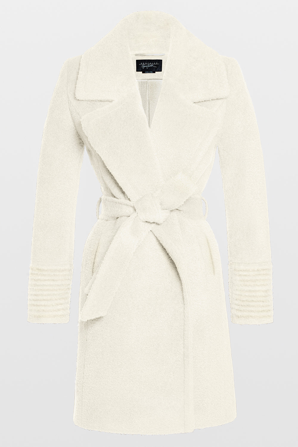 Sentaler Bouclé Alpaca Mid Length Notched Collar Wrap Coat featured in Bouclé Alpaca and available in Ivory. Seen off model.Sentaler Bouclé Alpaca Mid Length Notched Collar Wrap Coat featured in Bouclé Alpaca and available in Ivory. Seen off model.