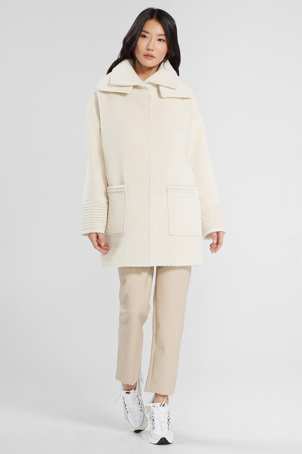 Sentaler Bouclé Alpaca Mid Length Oversized Coat with Signature Double Collar featured in Bouclé Alpaca and available in Ivory. Seen from front.