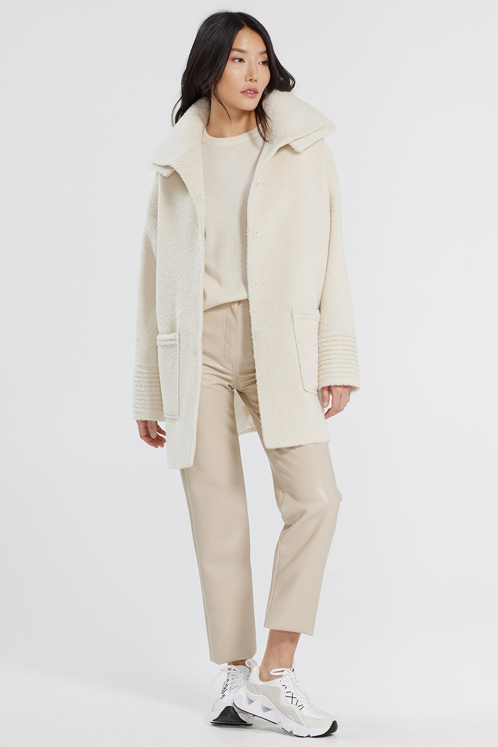 Sentaler Bouclé Alpaca Mid Length Oversized Coat with Signature Double Collar featured in Bouclé Alpaca and available in Ivory. Seen open.