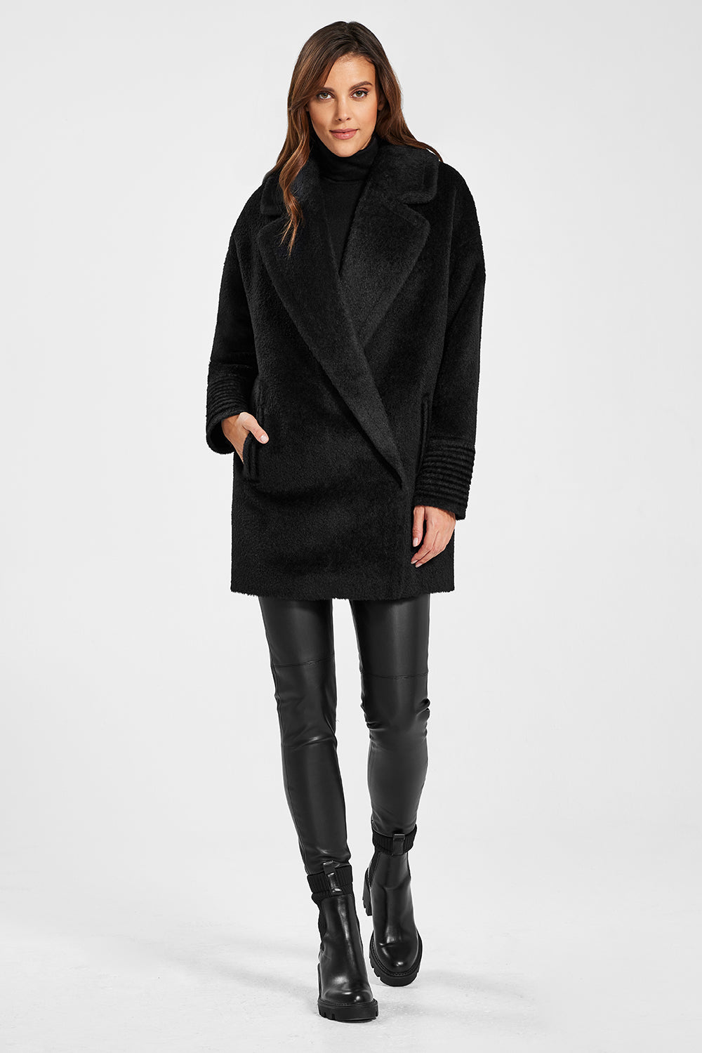 Sentaler Bouclé Alpaca Mid Length Oversized Notched Collar Coat featured in Bouclé Alpaca and available in Black. Seen from front.