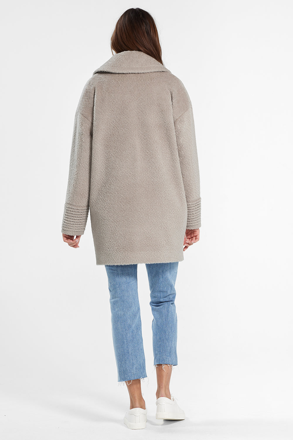 Sentaler Bouclé Alpaca Mid Length Oversized Notched Collar Coat featured in Bouclé Alpaca and available in Sand. Seen from back.