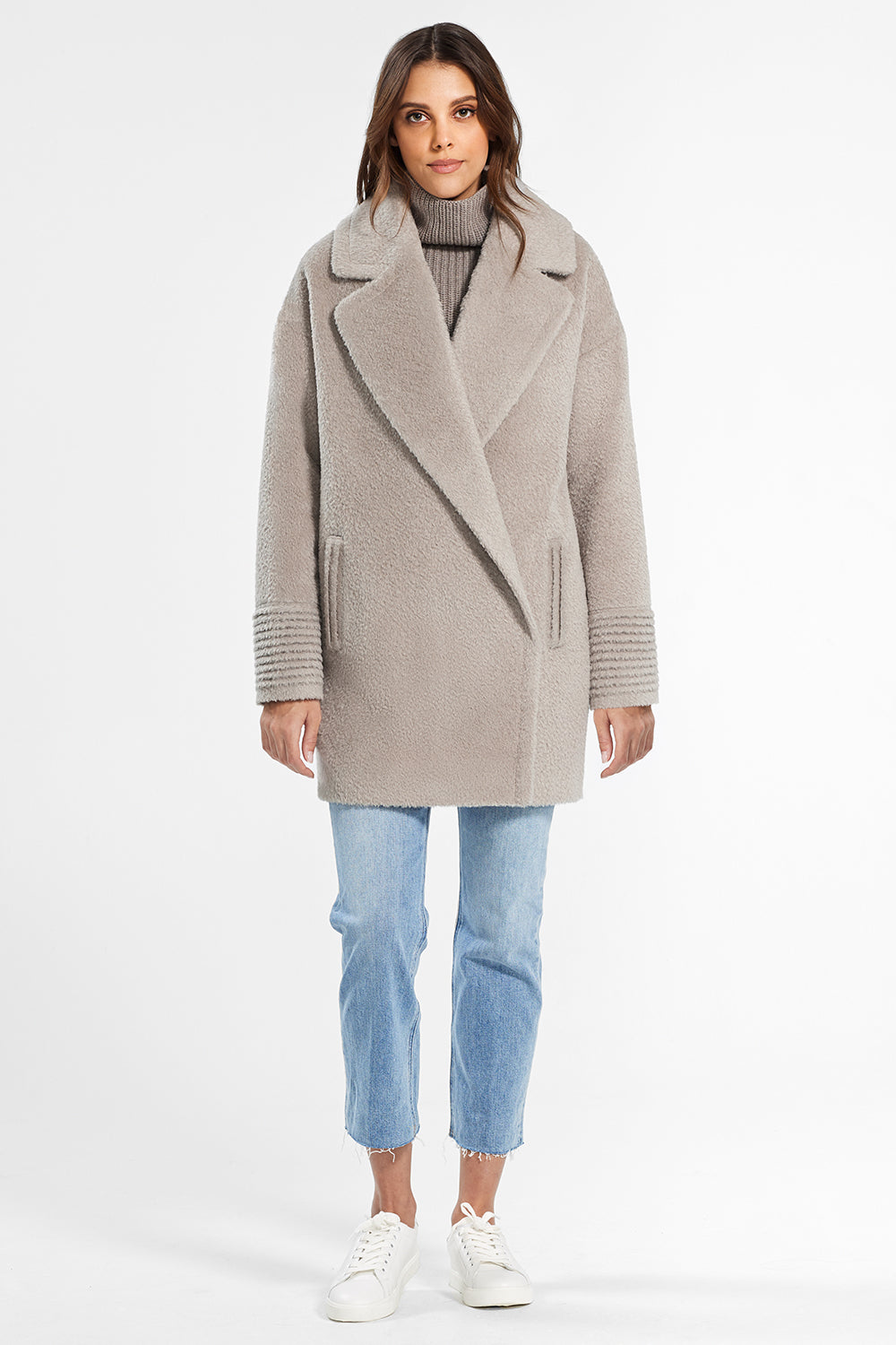 Sentaler Bouclé Alpaca Mid Length Oversized Notched Collar Coat featured in Bouclé Alpaca and available in Sand. Seen from front.