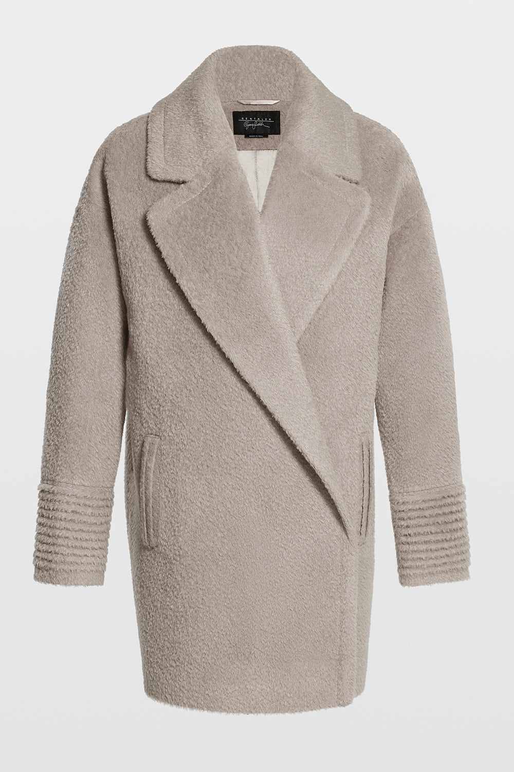 Sentaler Bouclé Alpaca Mid Length Oversized Notched Collar Coat featured in Bouclé Alpaca and available in Sand. Seen off model.