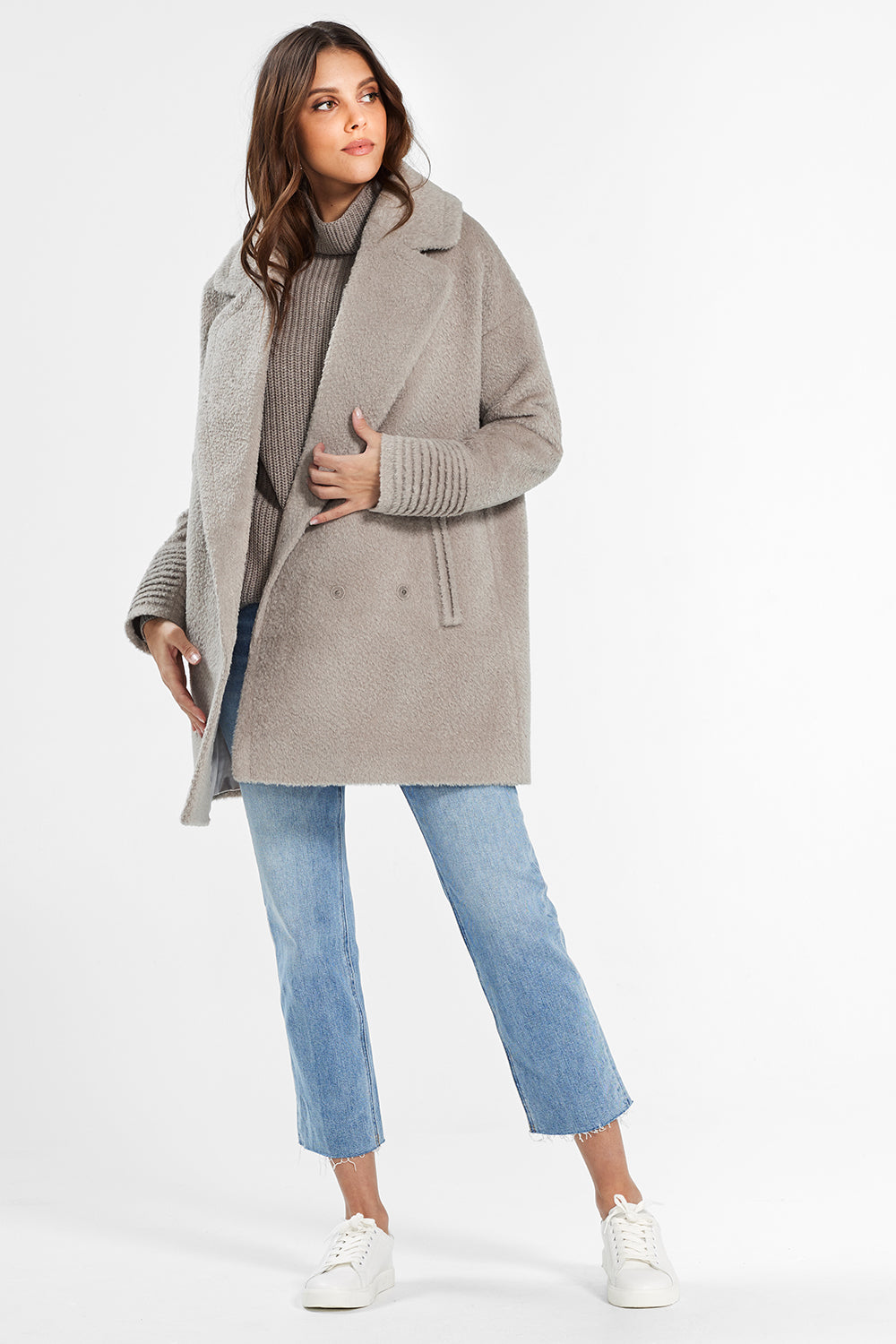 Sentaler Bouclé Alpaca Mid Length Oversized Notched Collar Coat featured in Bouclé Alpaca and available in Sand. Seen open.