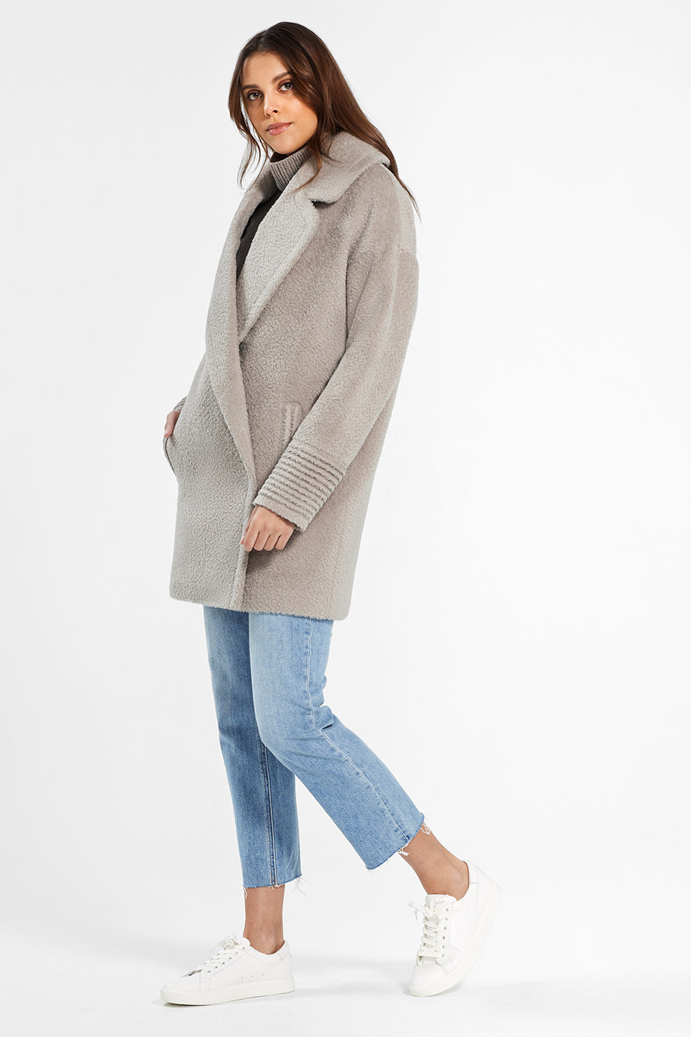 Sentaler Bouclé Alpaca Mid Length Oversized Notched Collar Coat featured in Bouclé Alpaca and available in Sand. Seen from side.