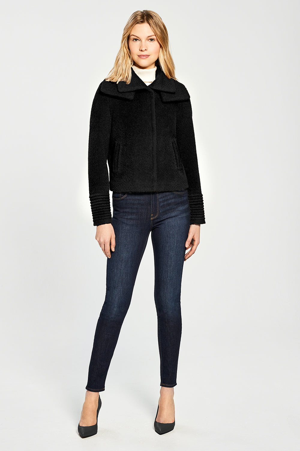 Sentaler Bouclé Alpaca Moto Jacket with Signature Double Collar featured in Bouclé Alpaca and available in Black. Seen from front.