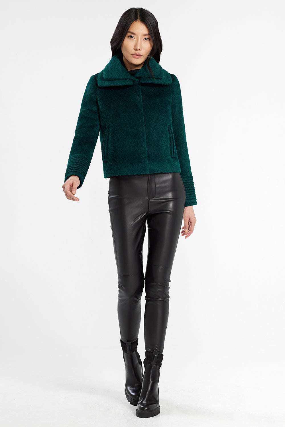 Sentaler Bouclé Alpaca Moto Jacket with Signature Double Collar featured in Bouclé Alpaca and available in Emerald Green. Seen from front.