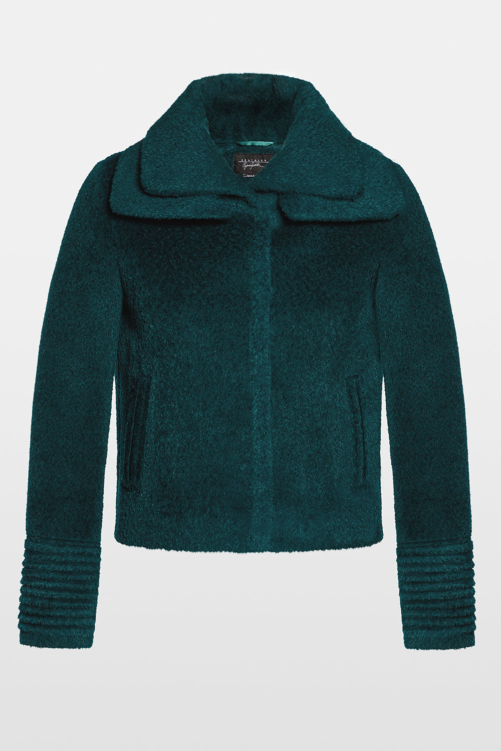 Sentaler Bouclé Alpaca Moto Jacket with Signature Double Collar featured in Bouclé Alpaca and available in Emerald Green. Seen off model.