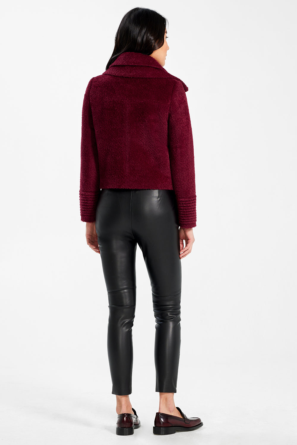Sentaler Bouclé Alpaca Moto Jacket with Signature Double Collar featured in Bouclé Alpaca and available in Garnet Red. Seen from back.