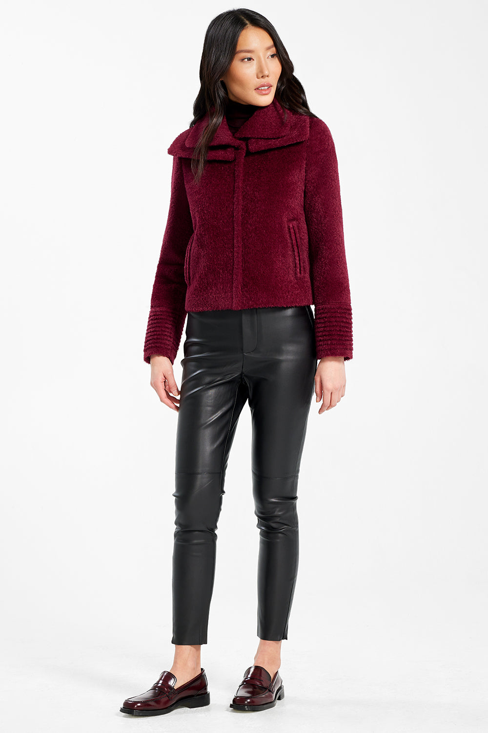 Sentaler Bouclé Alpaca Moto Jacket with Signature Double Collar featured in Bouclé Alpaca and available in Garnet Red. Seen from front.