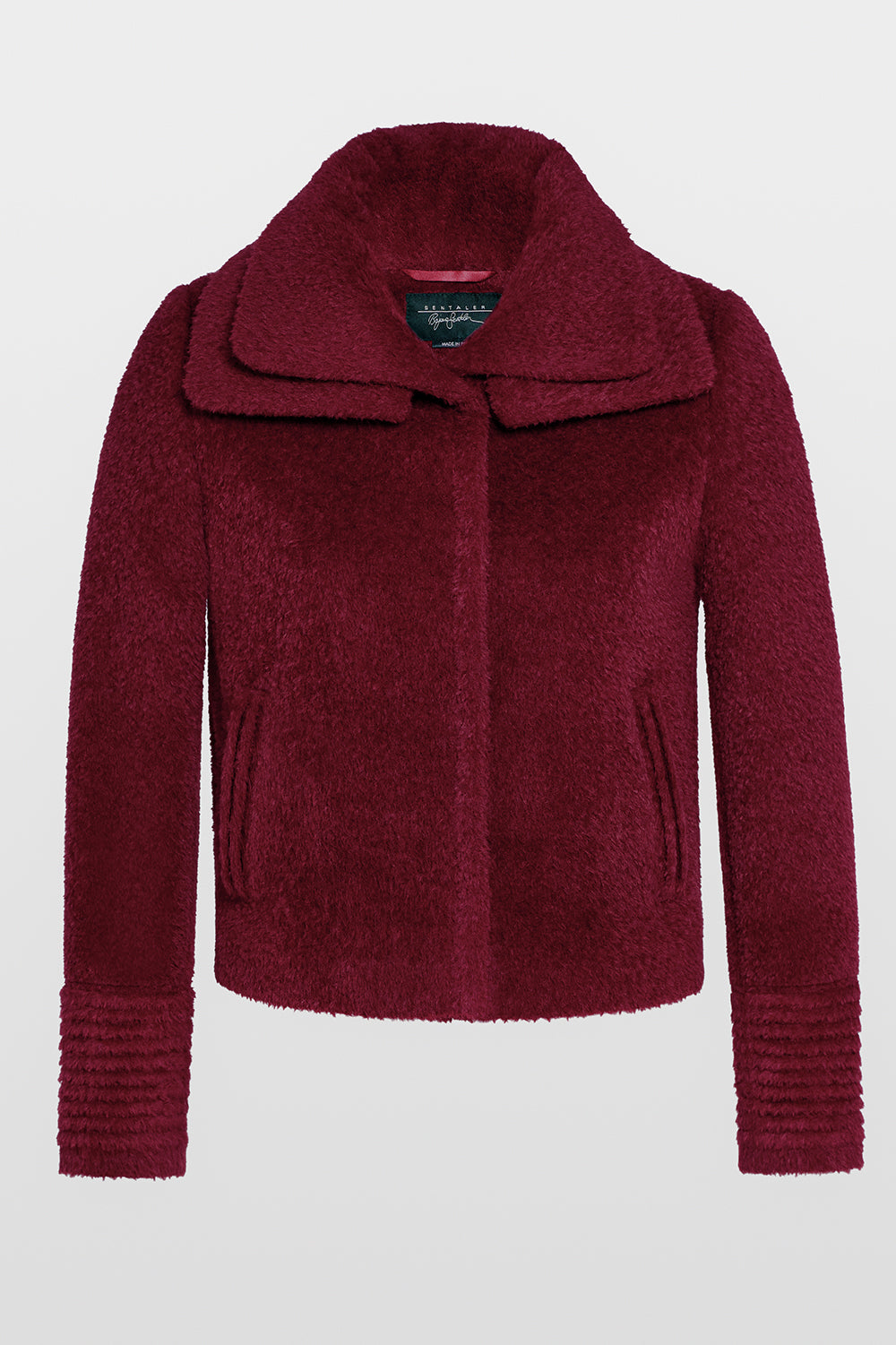 Sentaler Bouclé Alpaca Moto Jacket with Signature Double Collar featured in Bouclé Alpaca and available in Garnet Red. Seen off model.