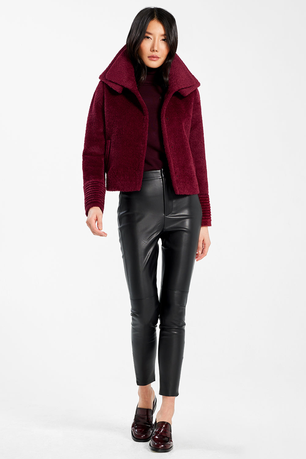 Sentaler Bouclé Alpaca Moto Jacket with Signature Double Collar featured in Bouclé Alpaca and available in Garnet Red. Seen open.